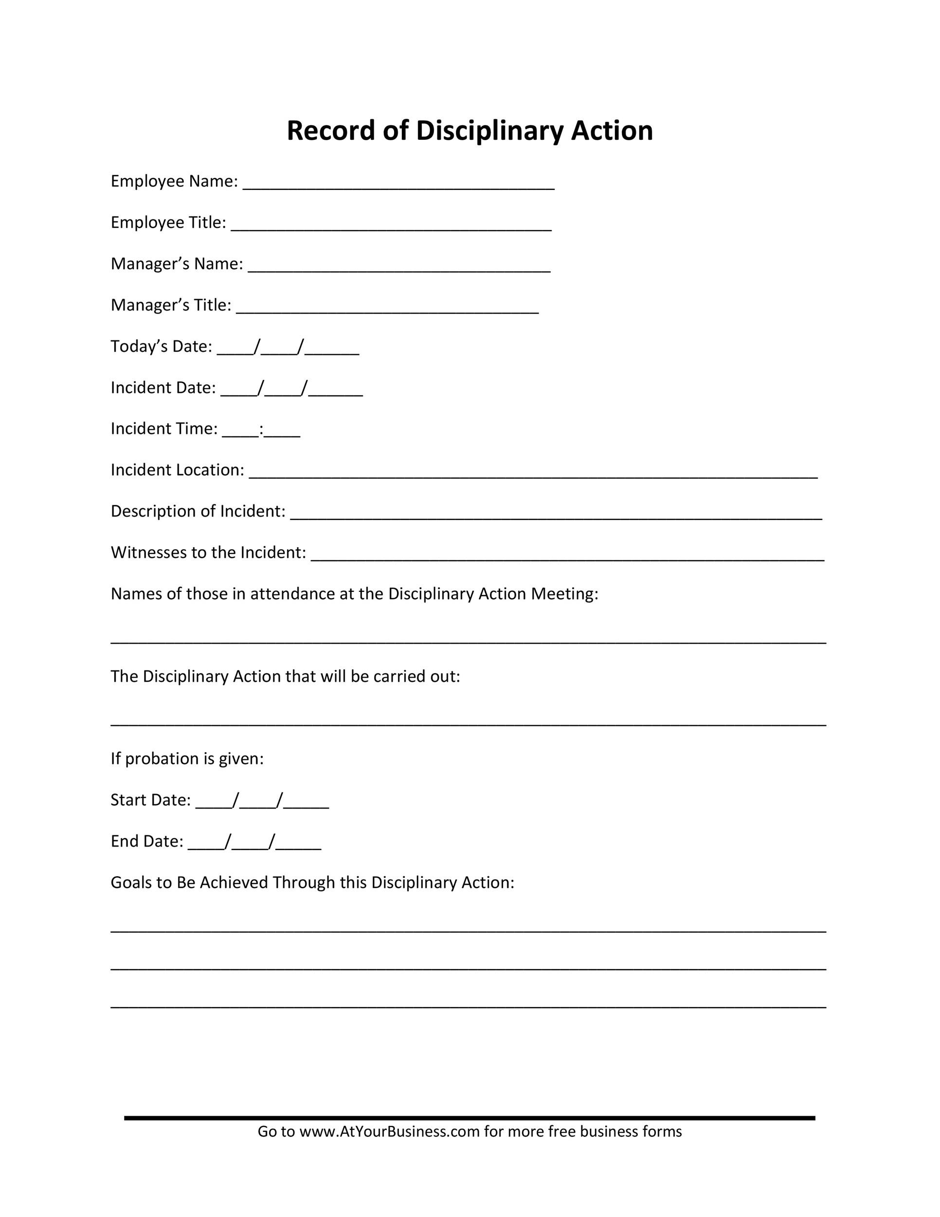 Free Disciplinary Action Form 14