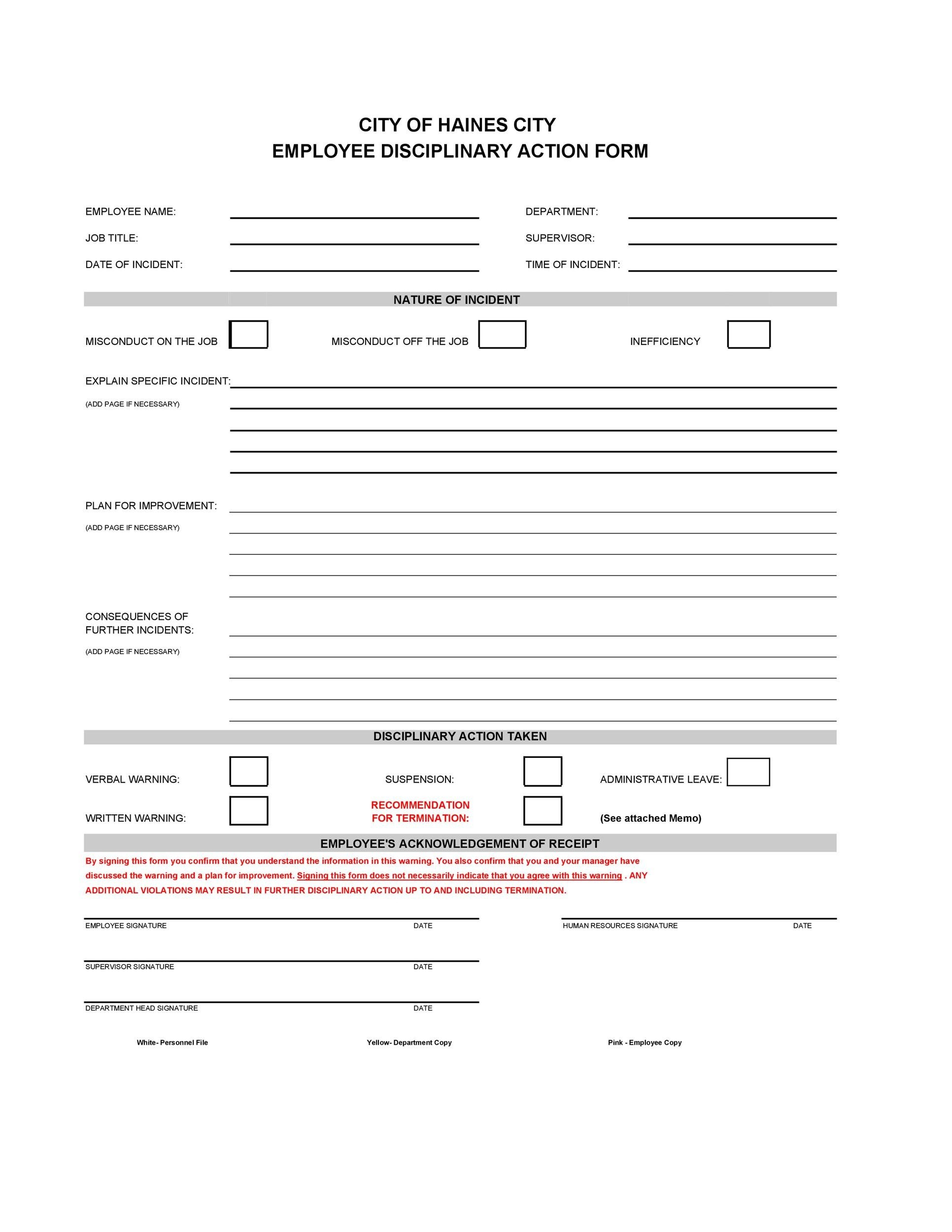 Free Disciplinary Action Form 16