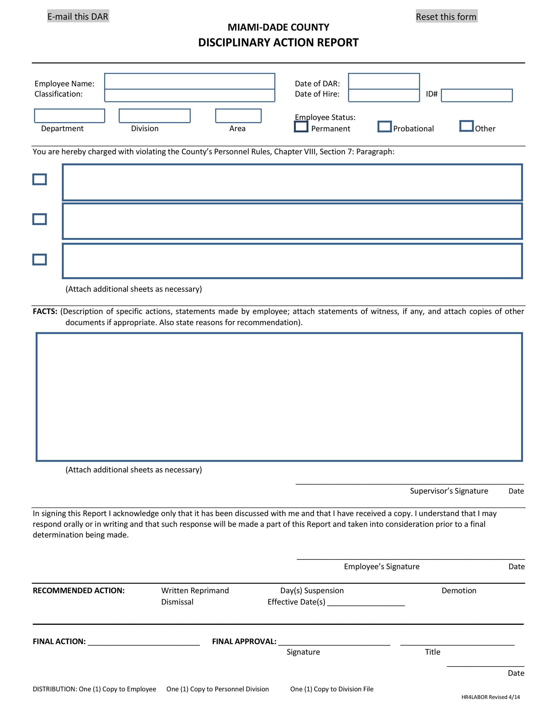Free Disciplinary Action Form 18