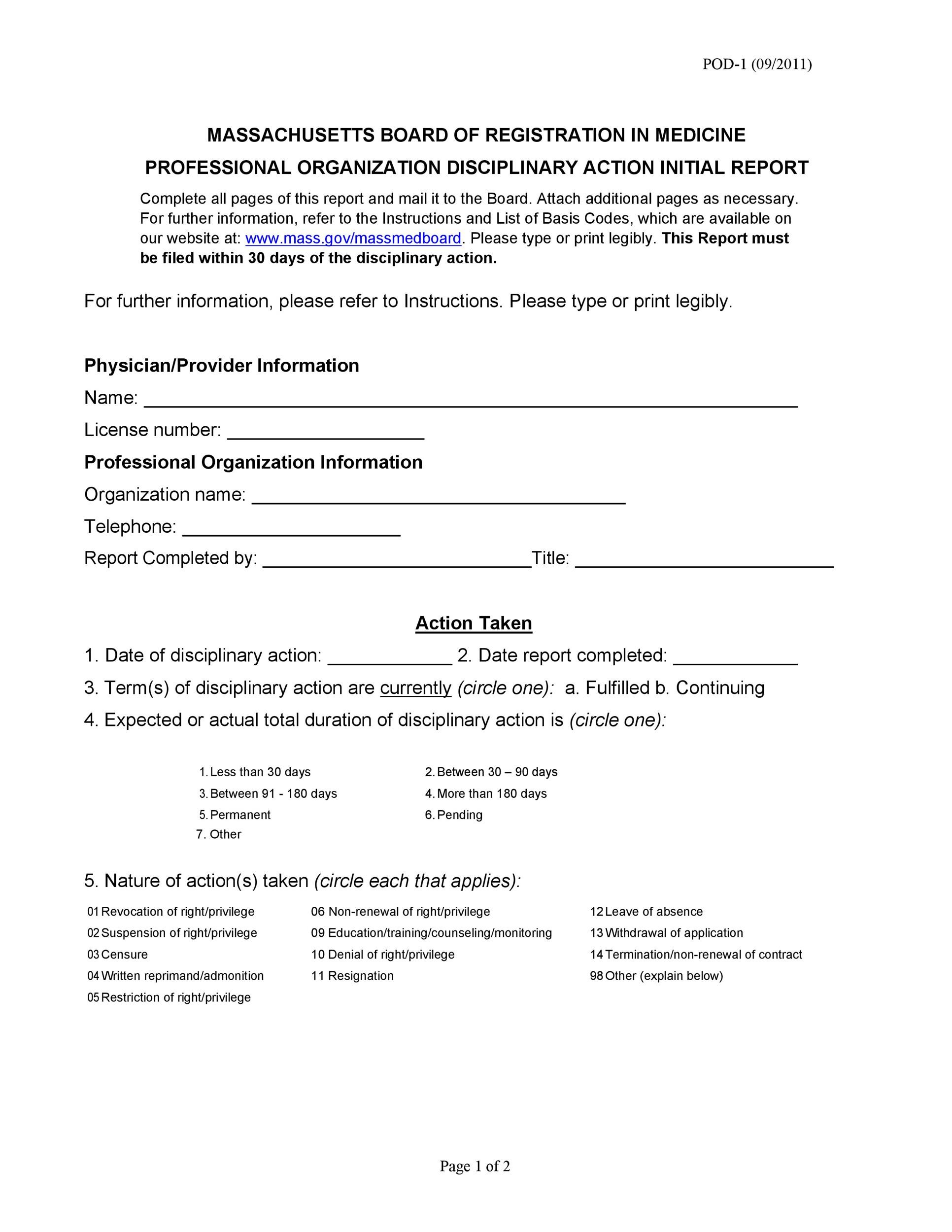 Free Disciplinary Action Form 19
