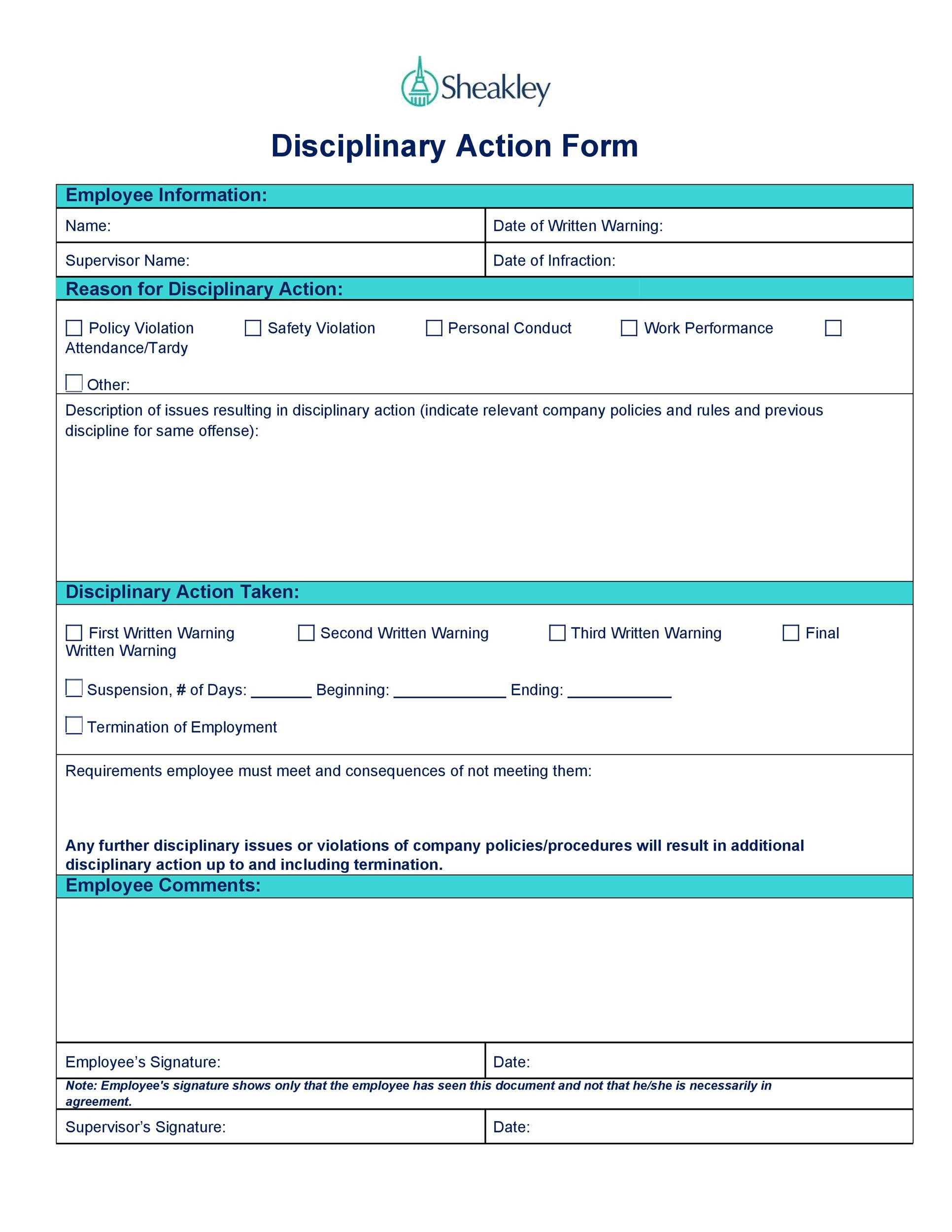 Disciplinary Action Forms