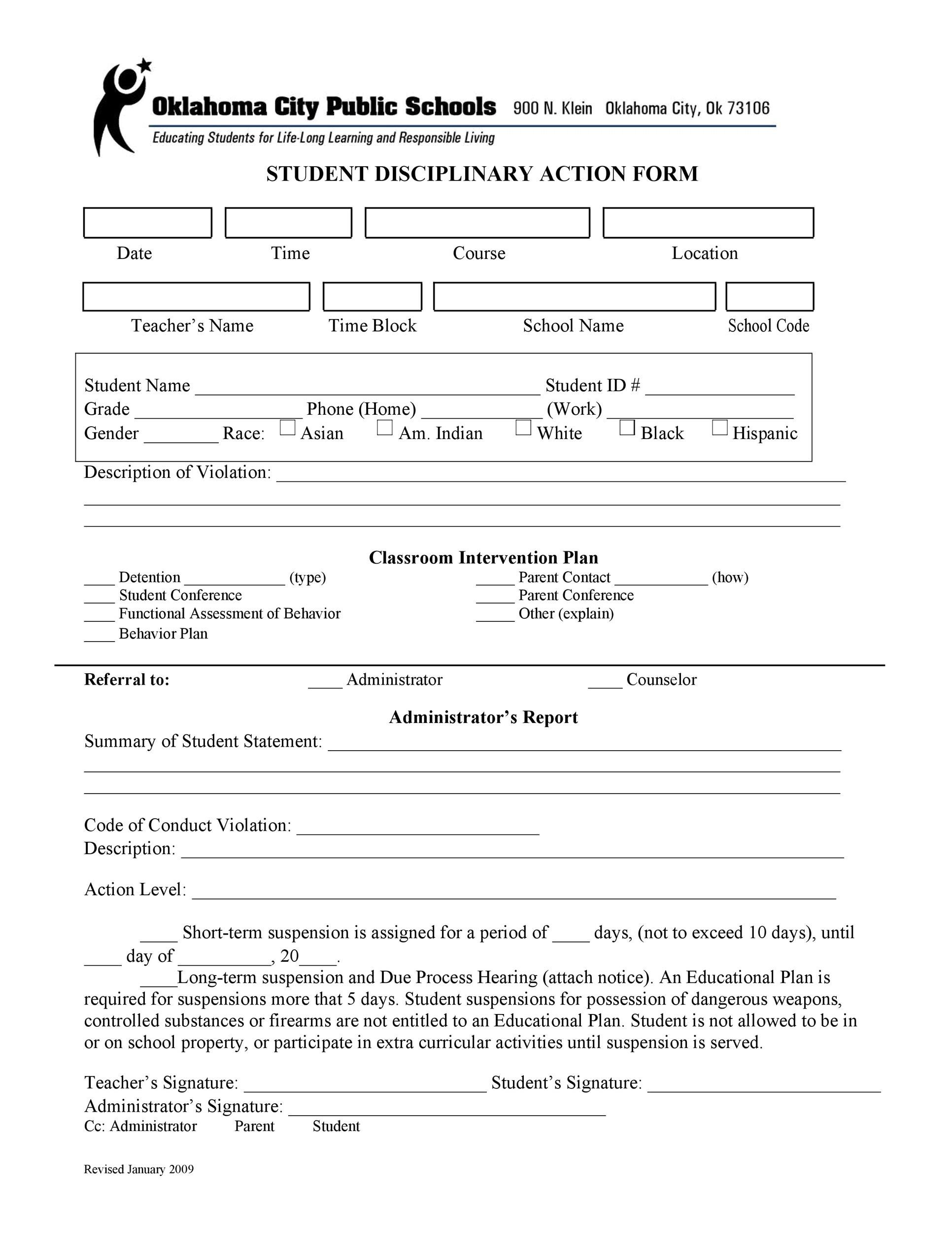 Free Disciplinary Action Form 28