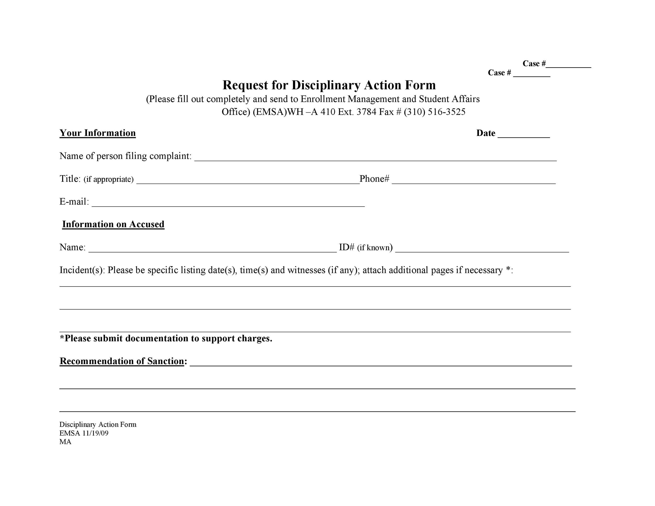 Free Disciplinary Action Form 29