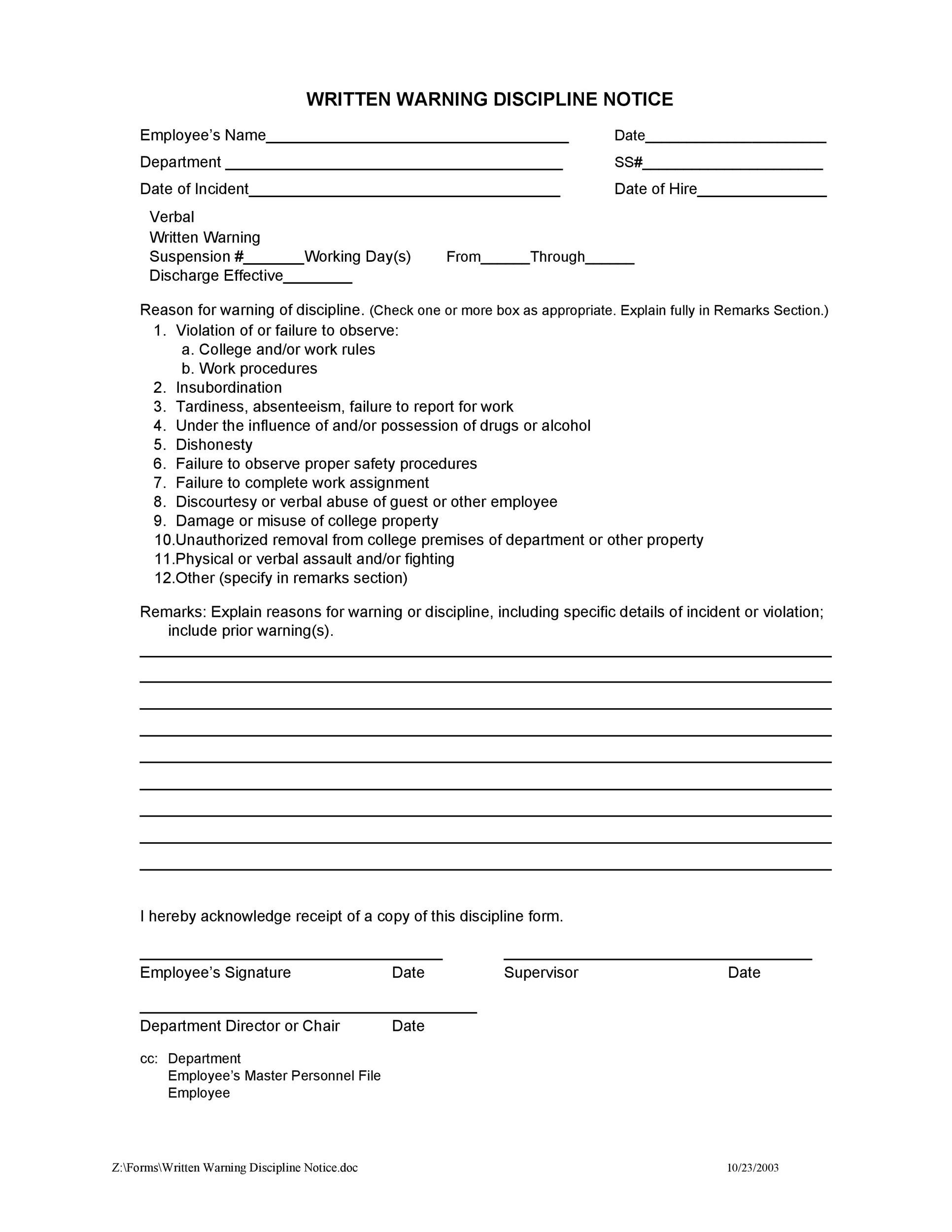 Employee Disciplinary Action Forms  Template Lab