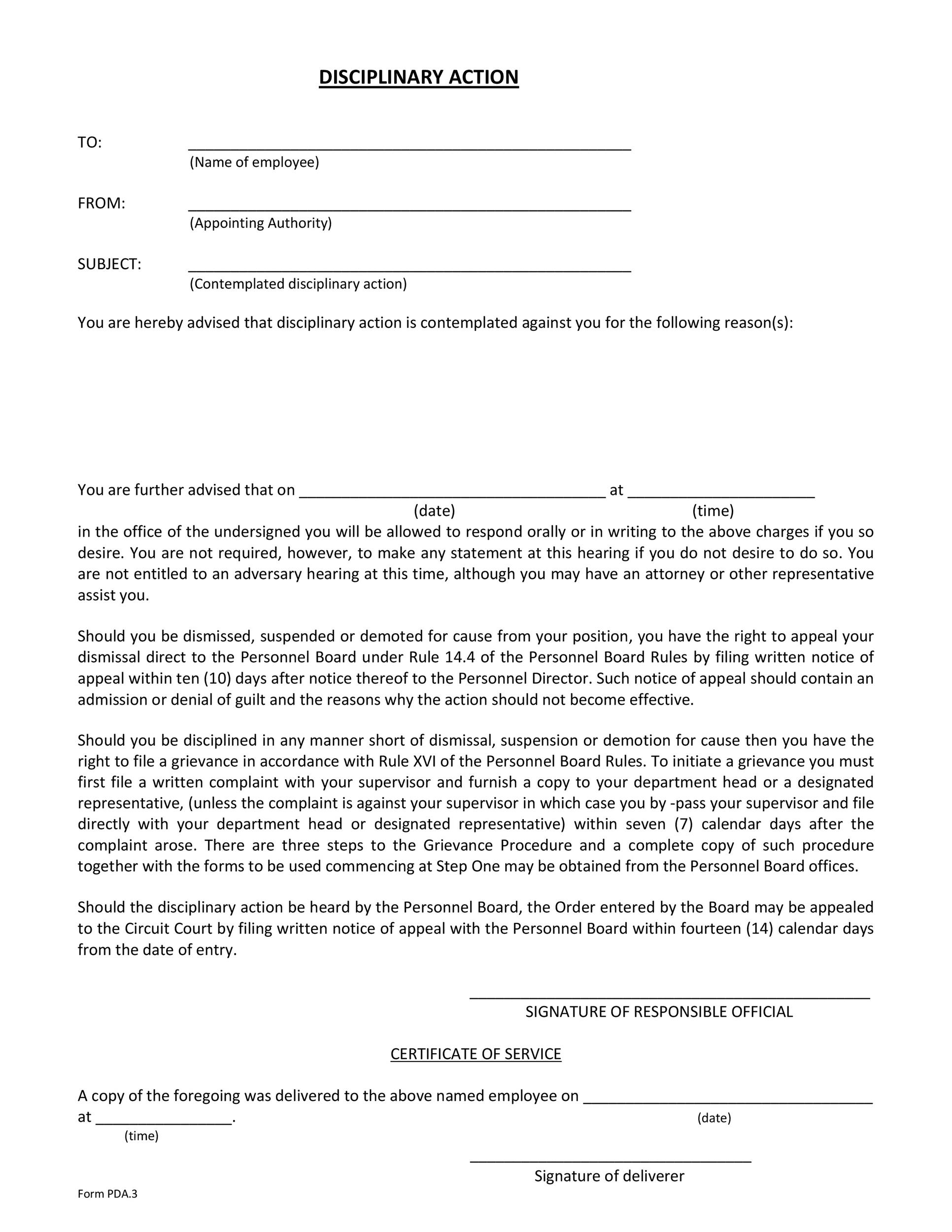 Free Disciplinary Action Form 32
