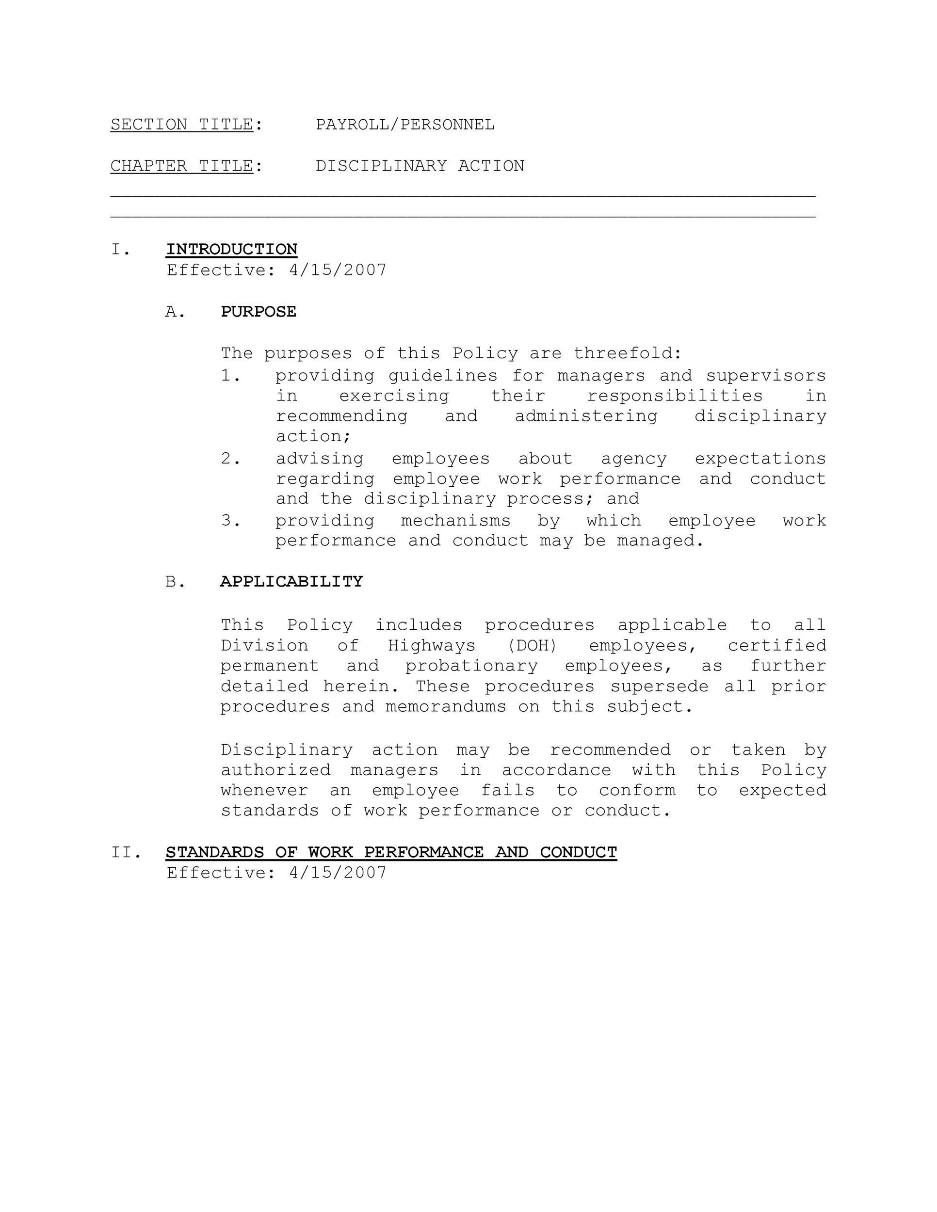 Free Disciplinary Action Form 34