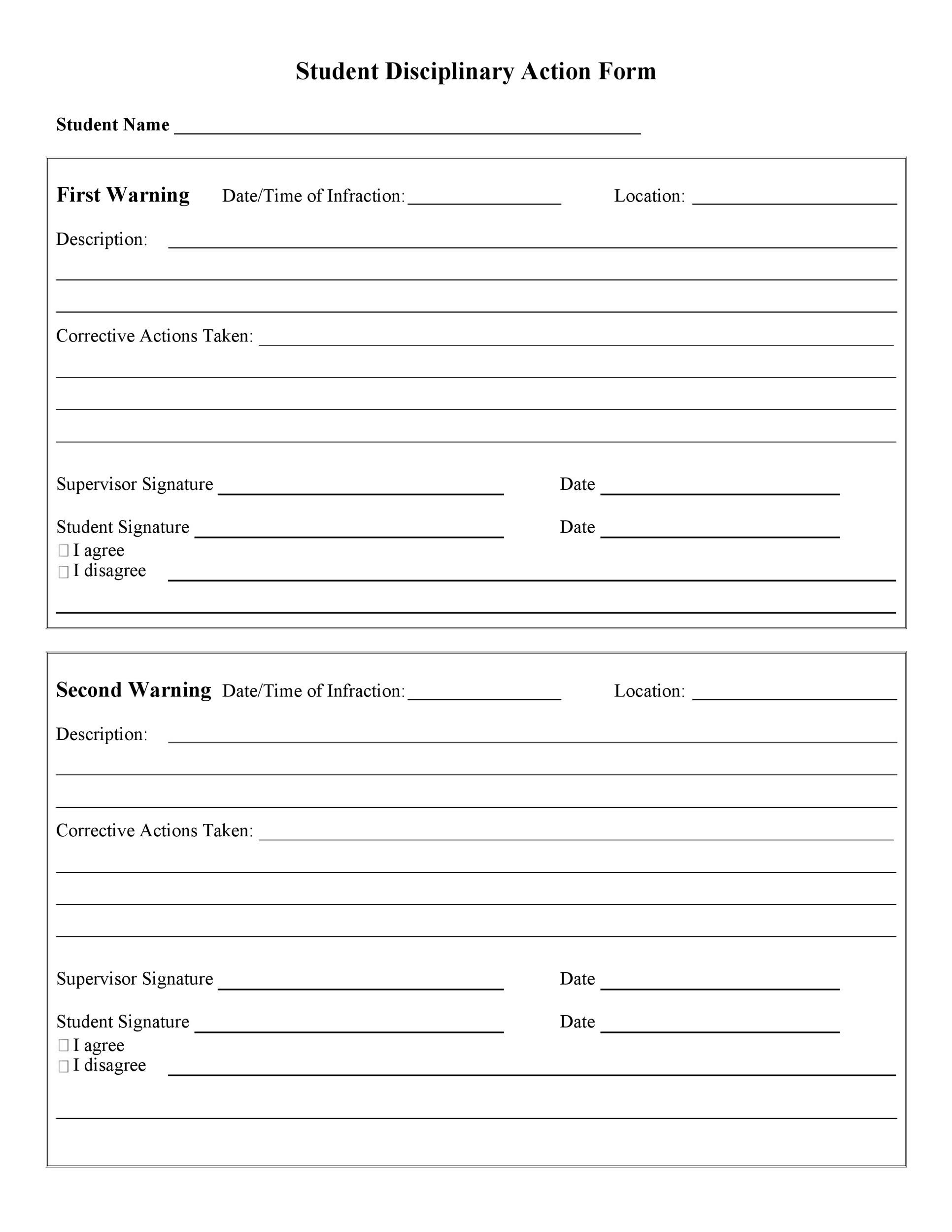 Free Disciplinary Action Form 37