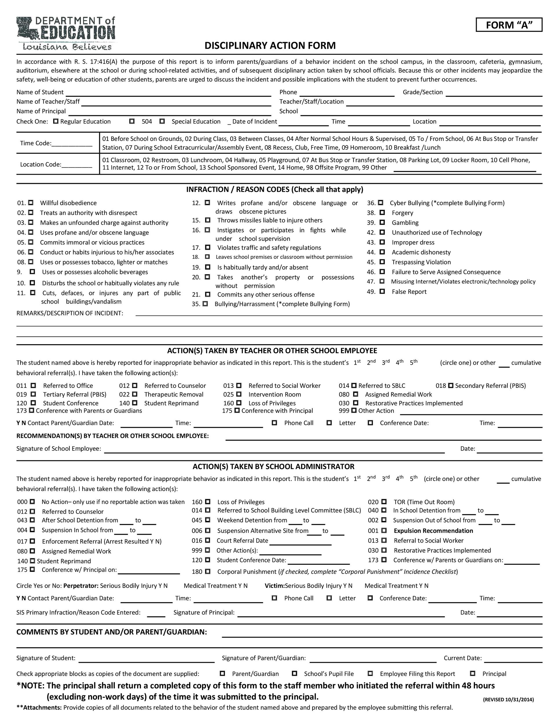 Free Disciplinary Action Form 39