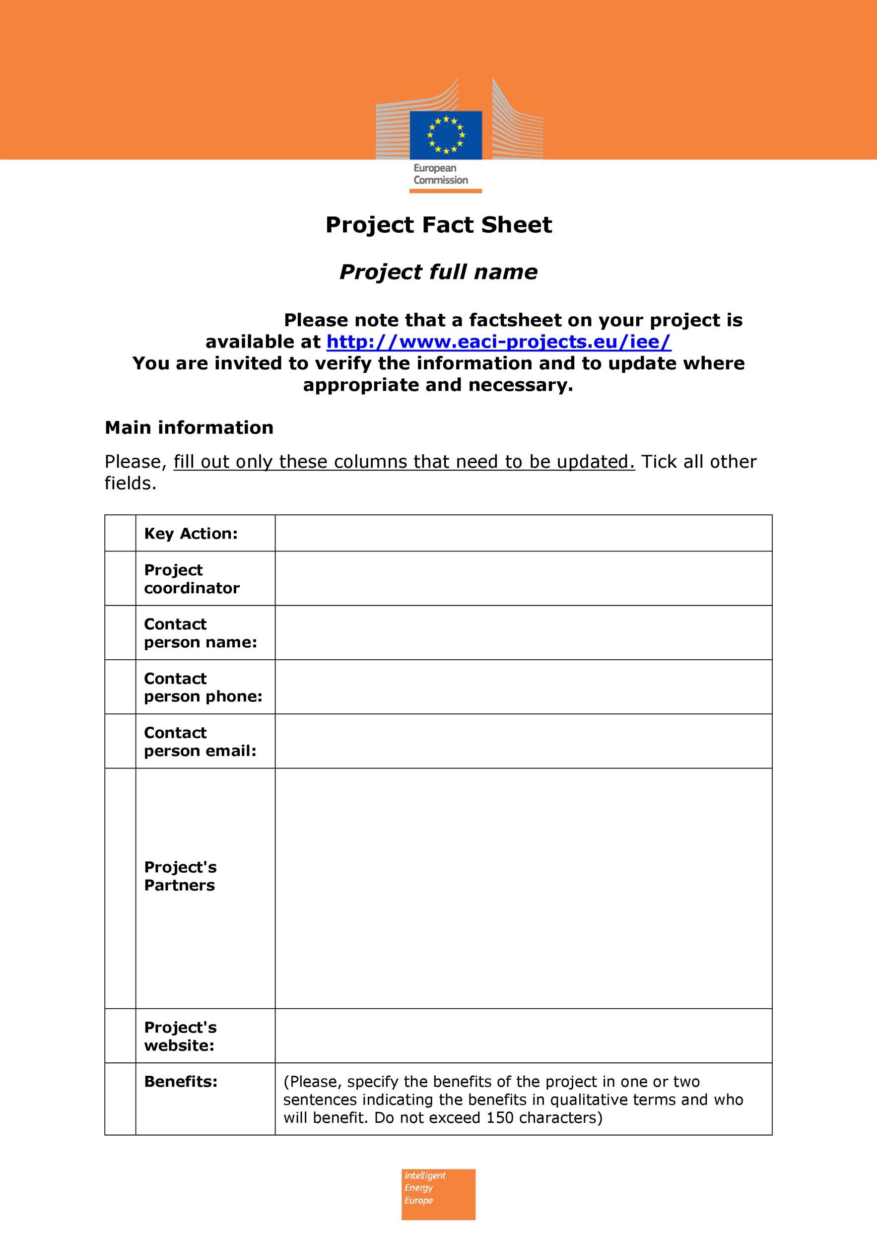 Free Fact sheet Template 01