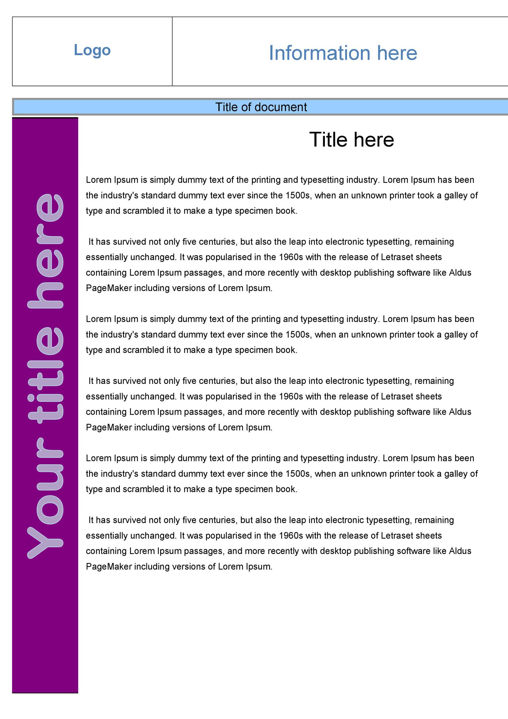 Free Fact sheet Template 05