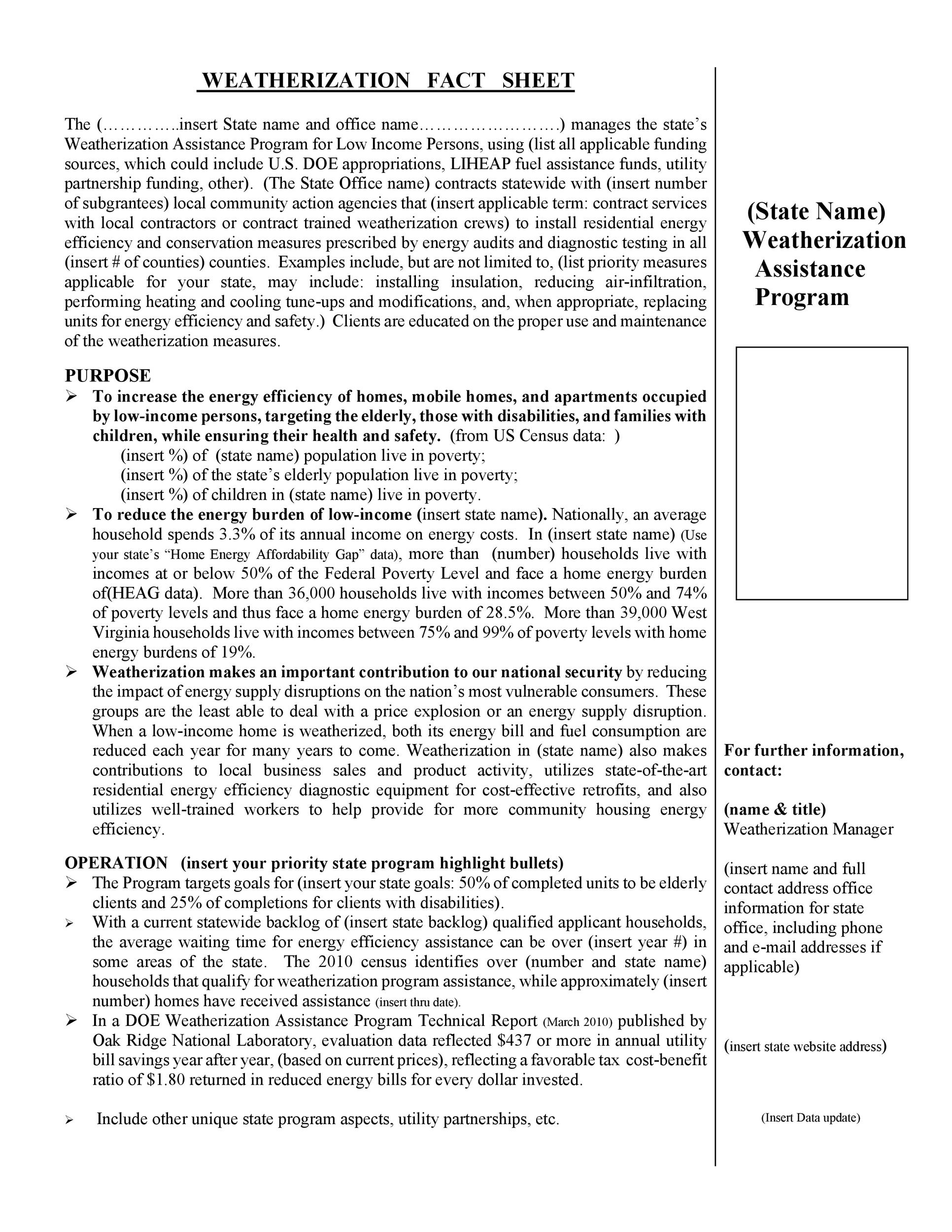 Free Fact sheet Template 07