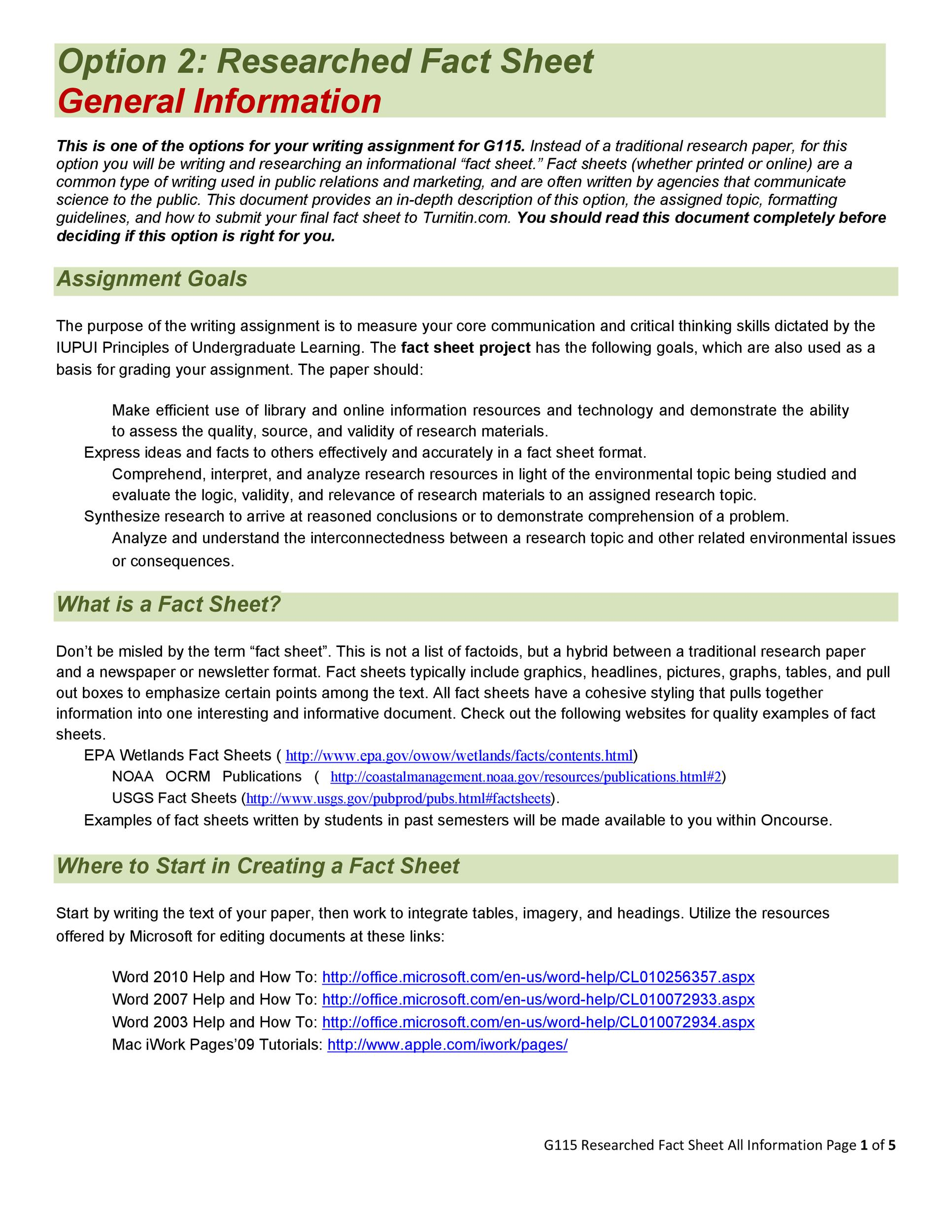 Free Fact sheet Template 21