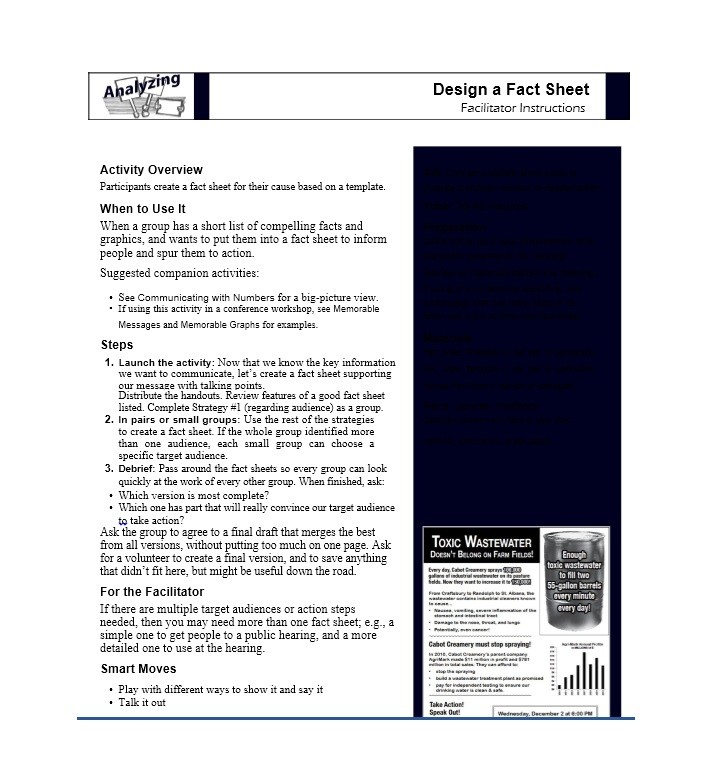 Free Fact sheet Template 28