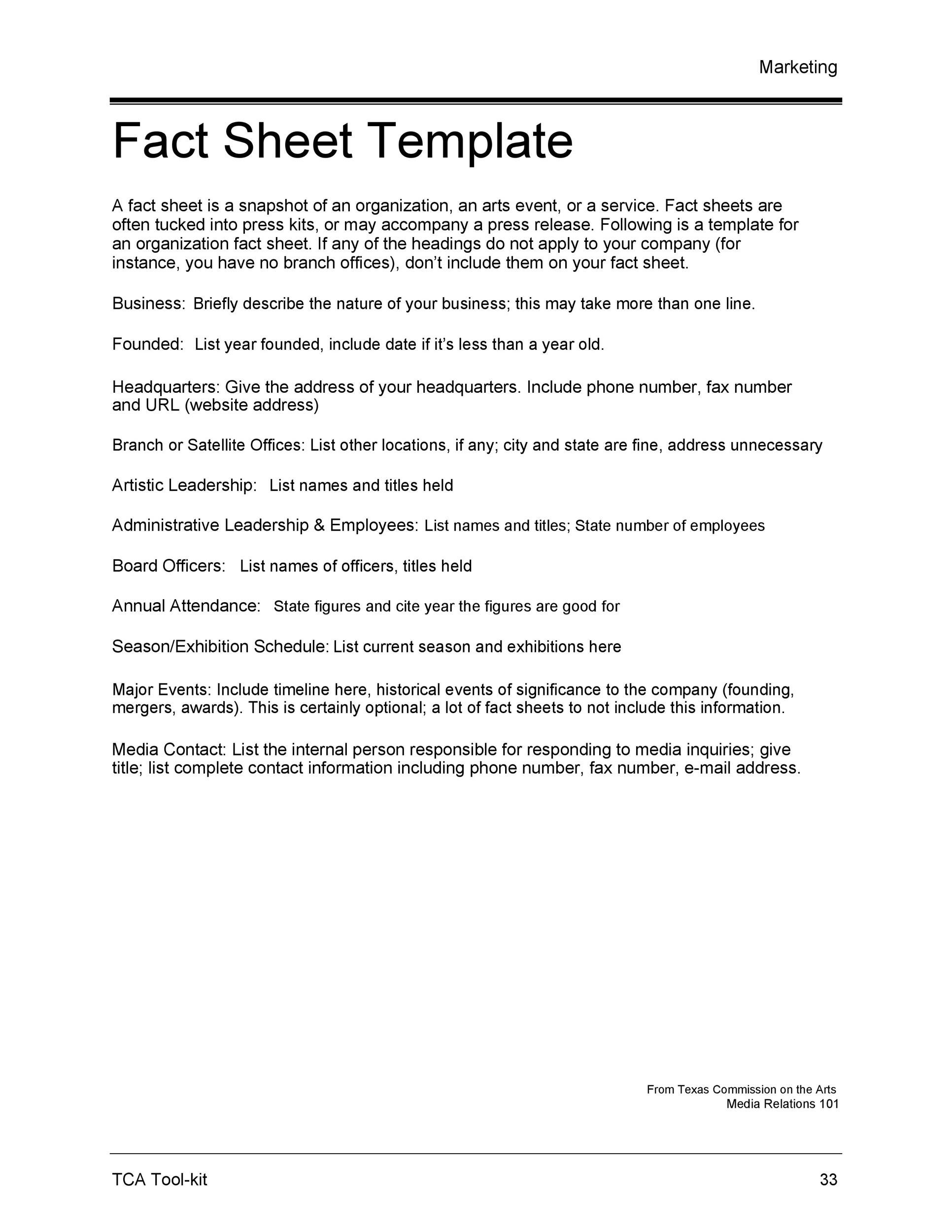 Free Fact sheet Template 30