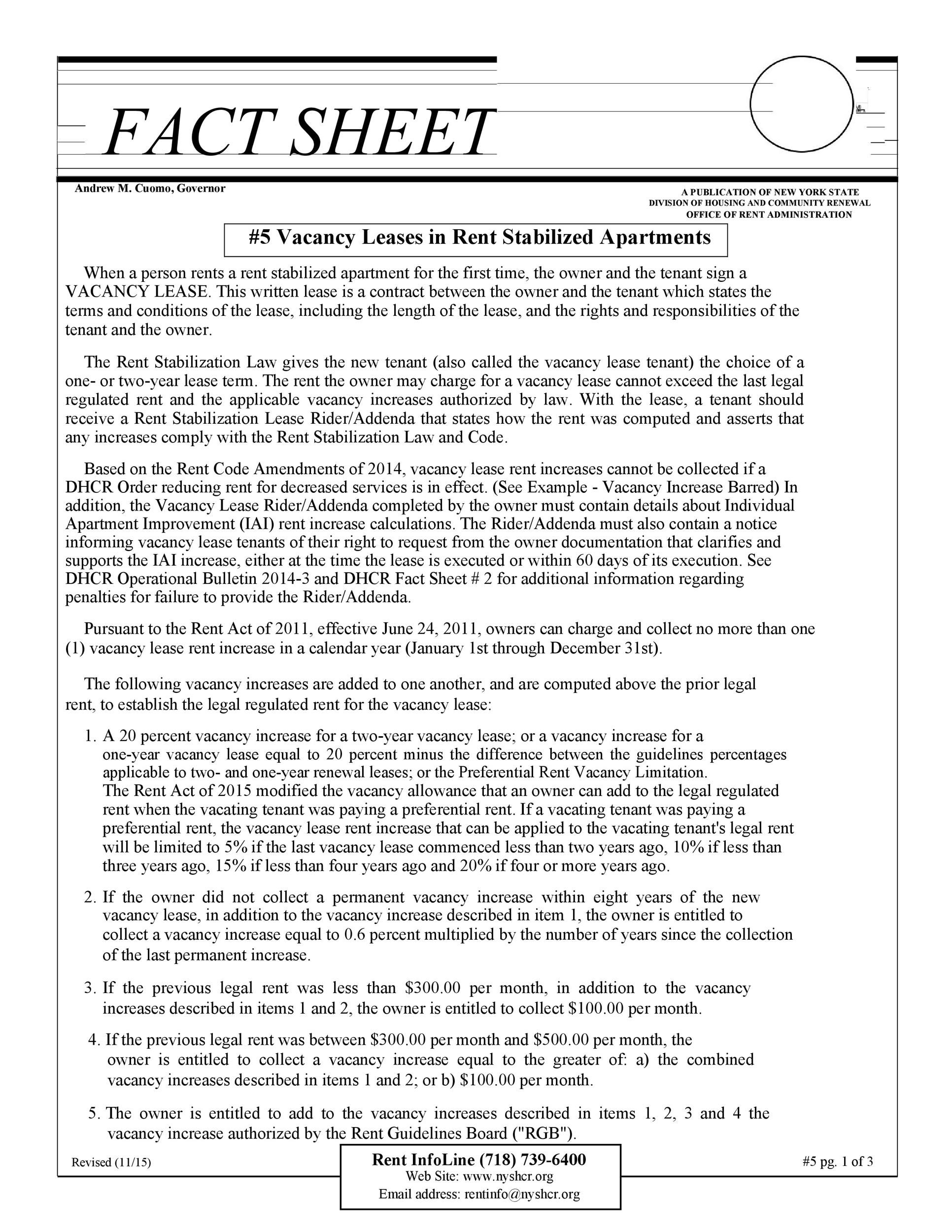 Free Fact sheet Template 53