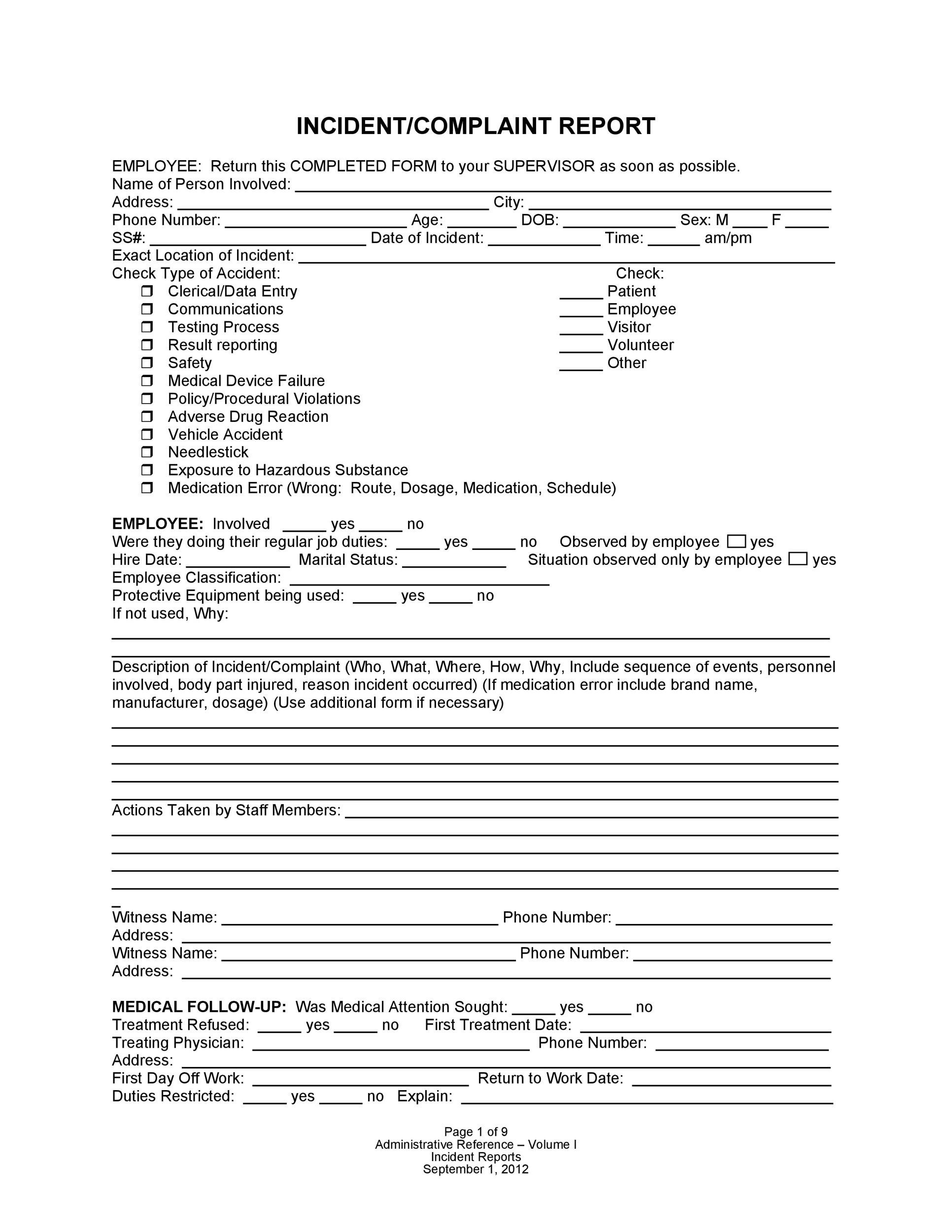 Printable Incident Report Template 01  Injury Incident Report Form Template