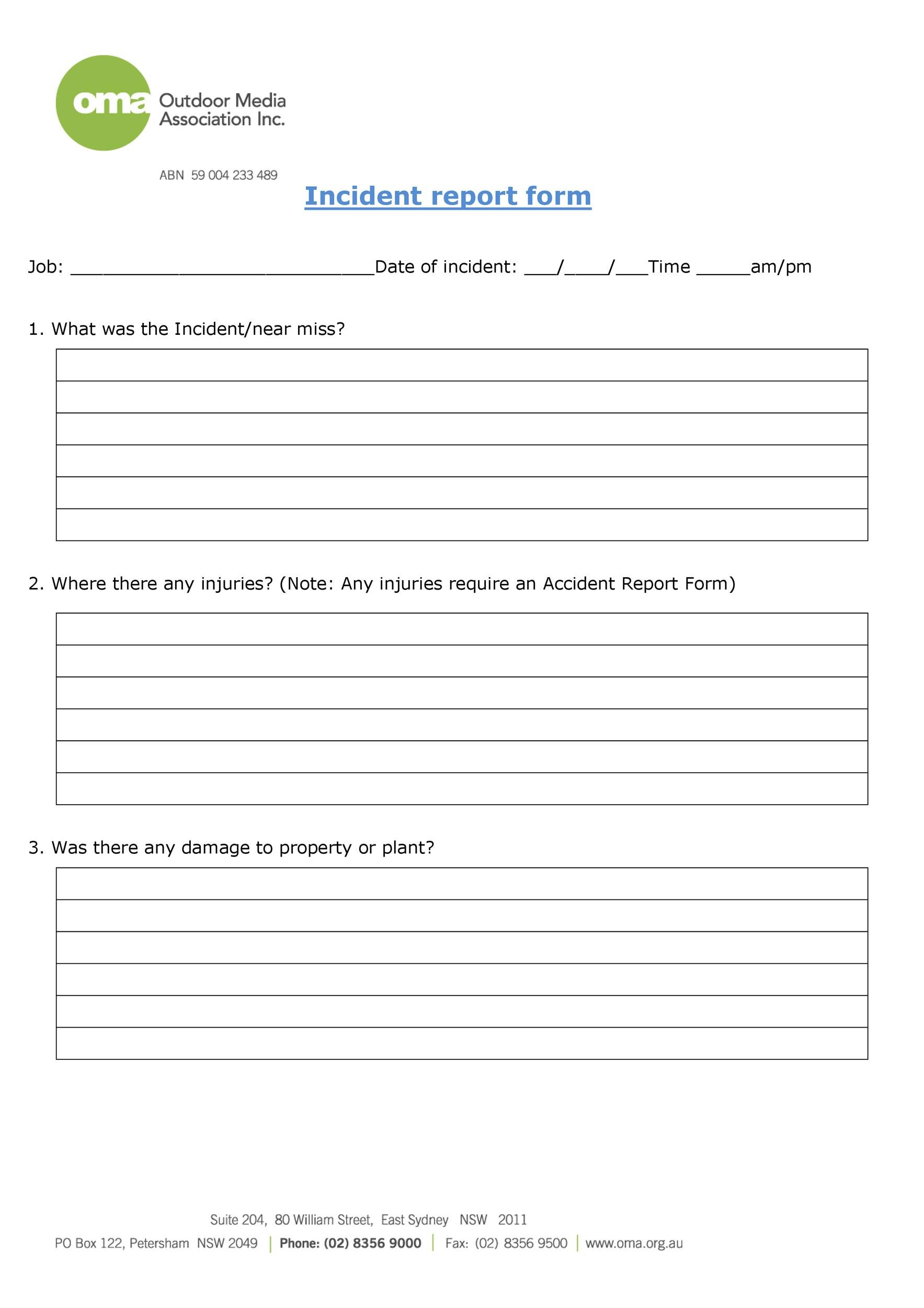 Incident Reporting Form | 60 Incident Report Template Employee Police Generic ᐅ Template Lab