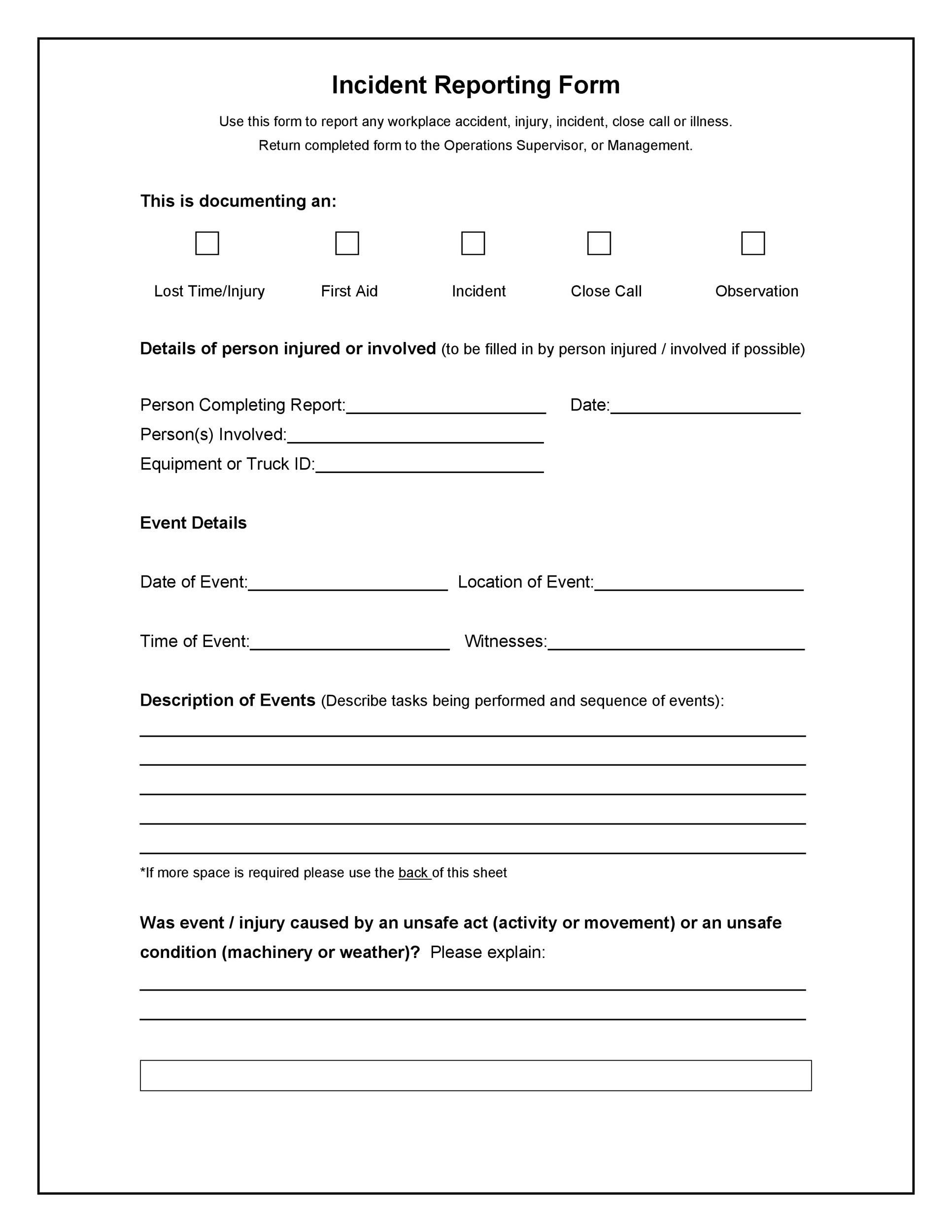 Police Report Template Incident Report Template Incident Report