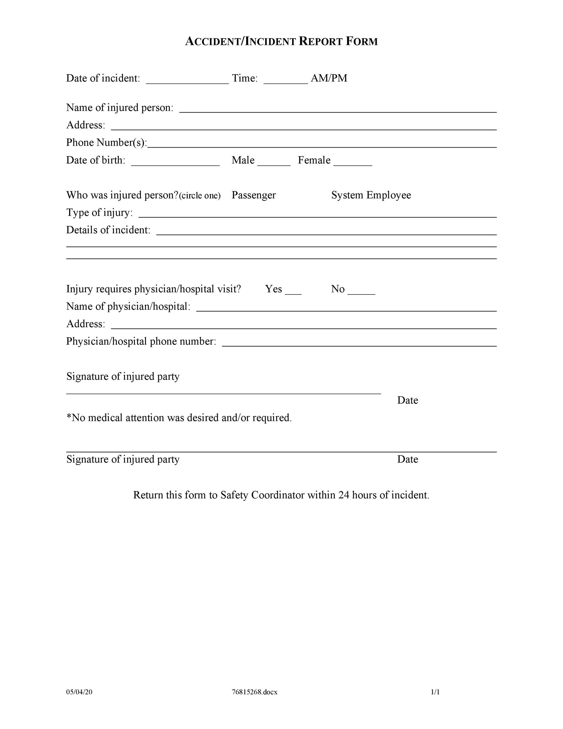 Incident Report Forms Injury Incident Report Form Template Best