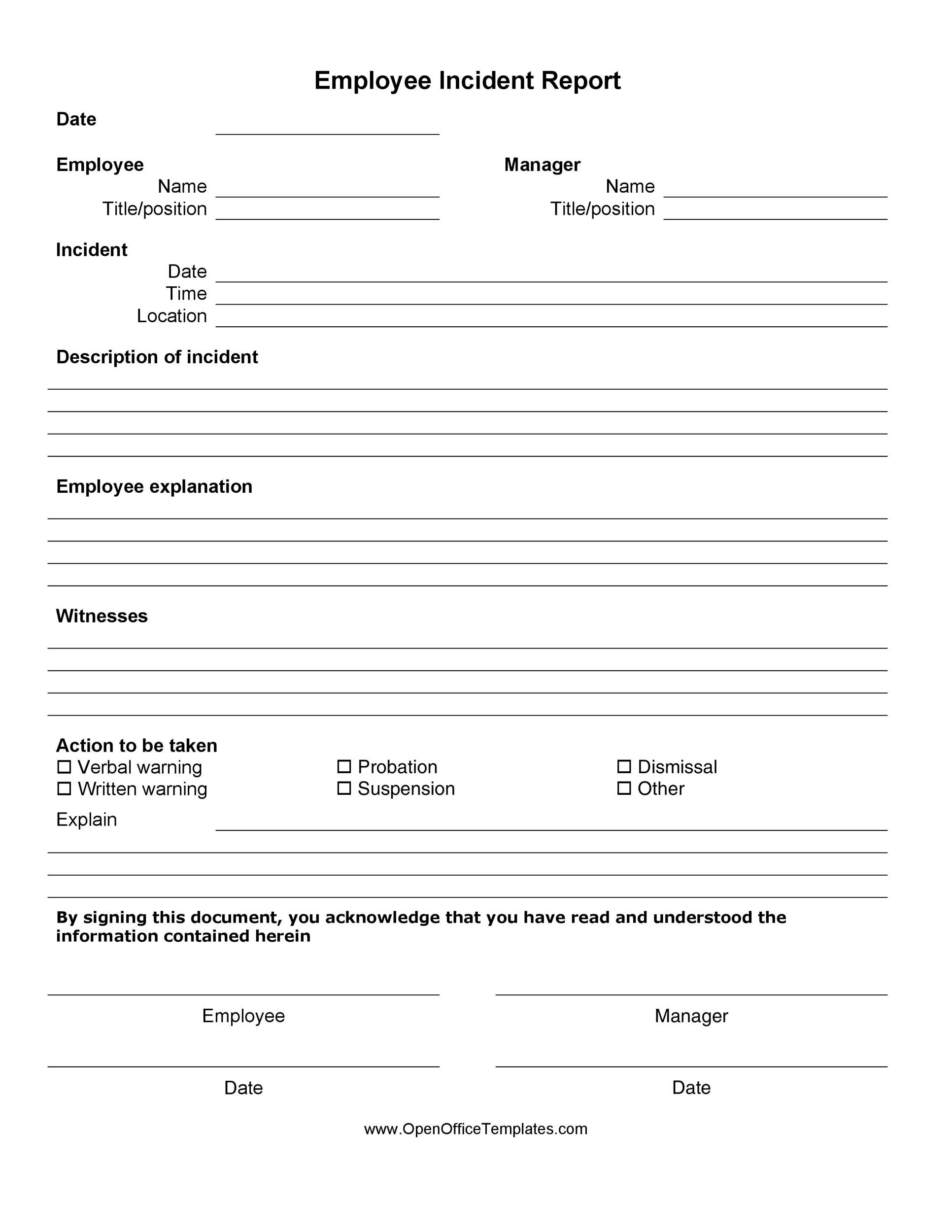 60 Incident Report Template Employee Police Generic – Free Printable Incident Reports