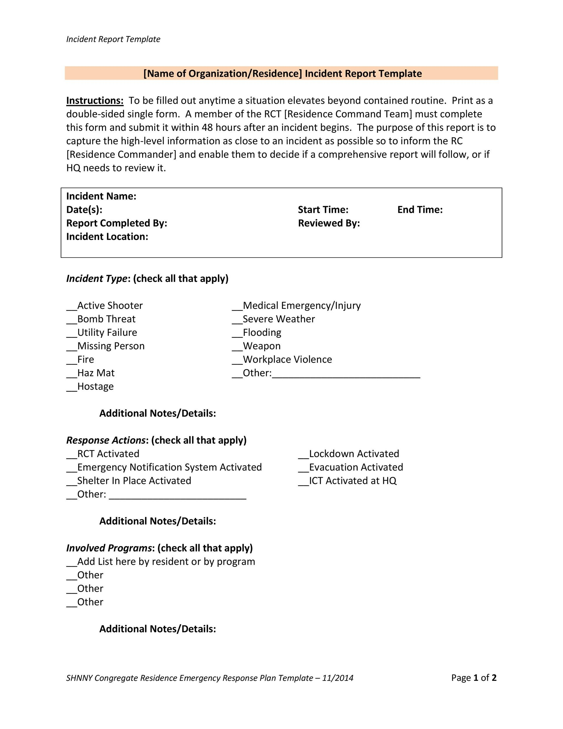 Free Incident Report Template 12