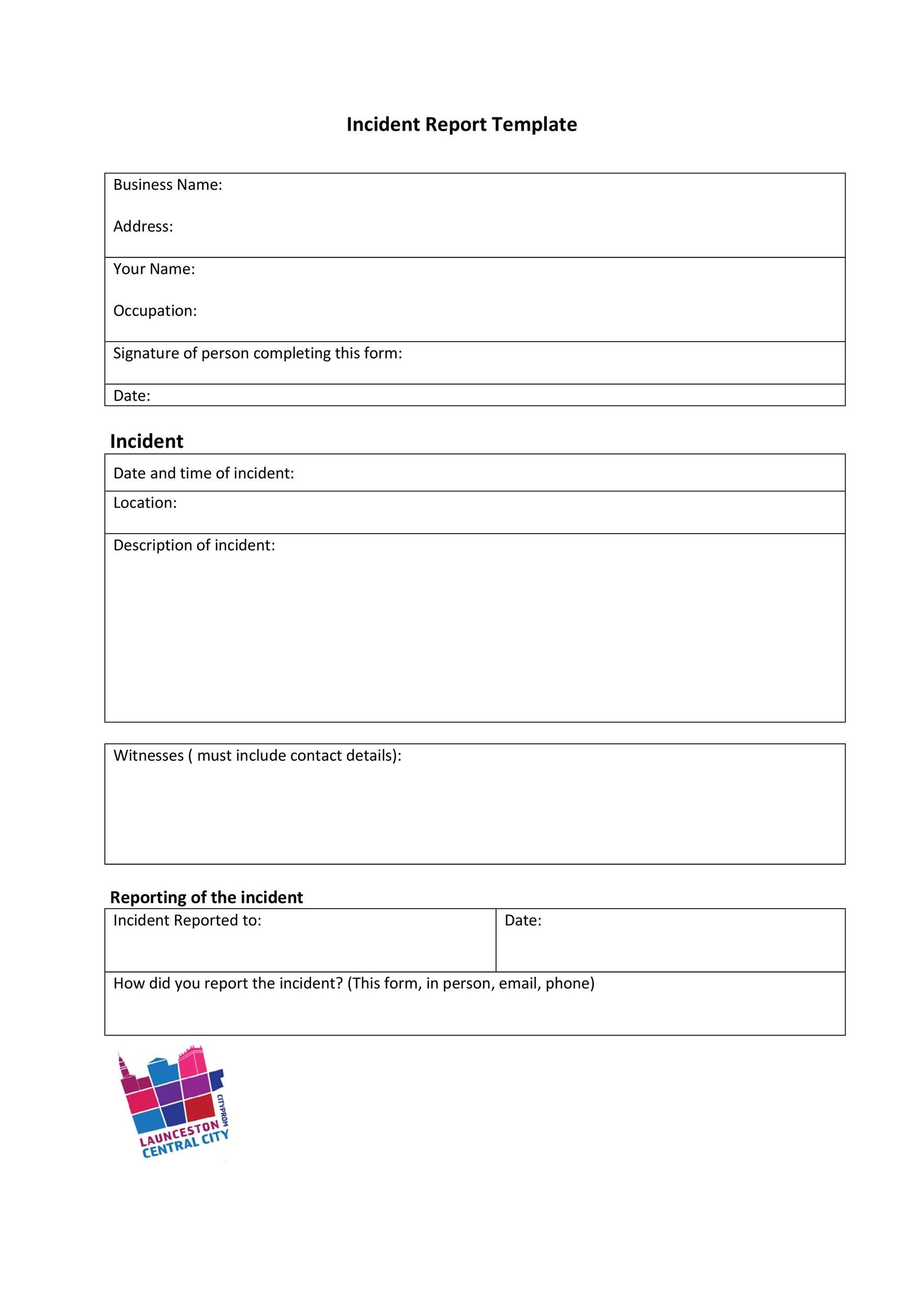 care home incident report template