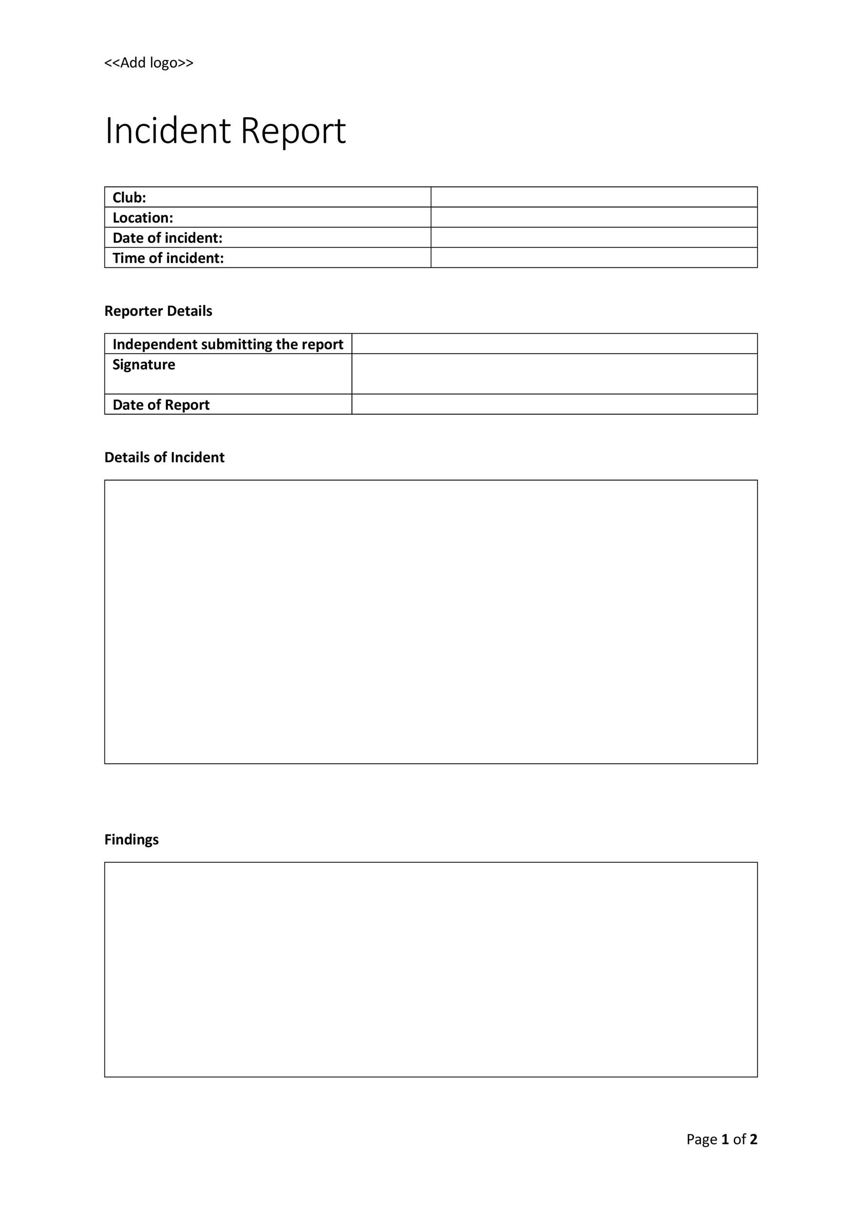 Free Incident Report Template 15