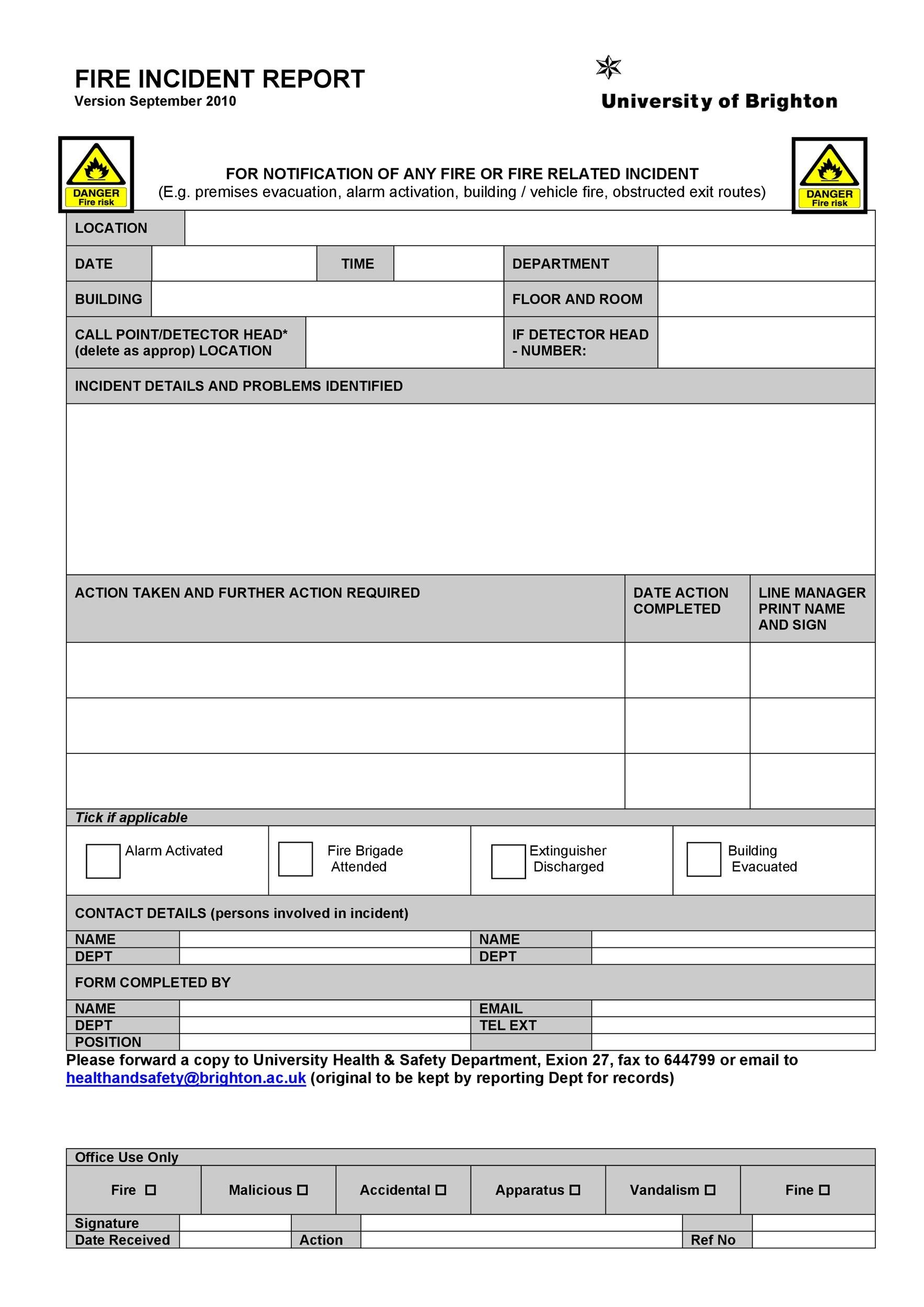 Free Incident Report Template 19