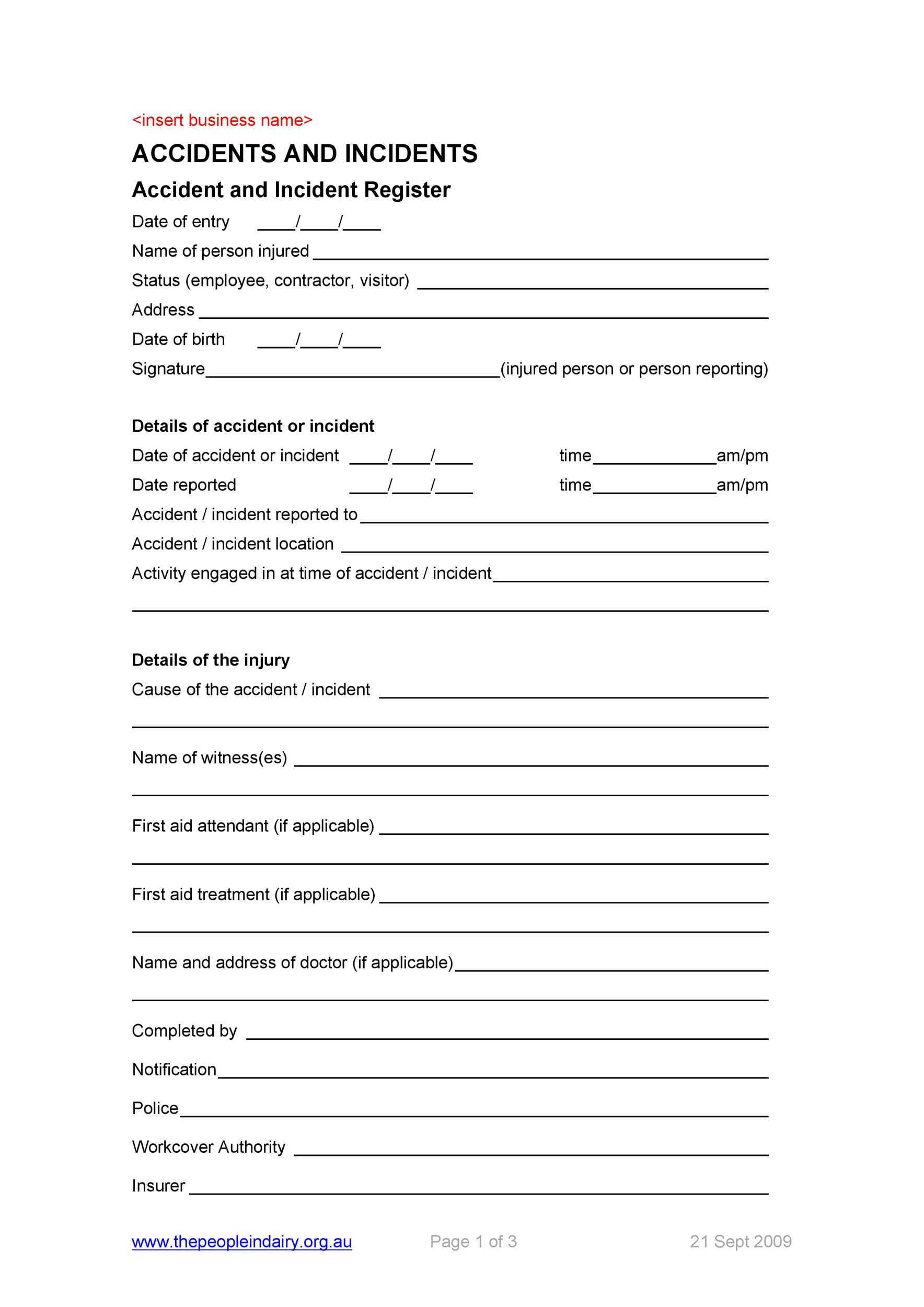 Free Incident Report Template 20