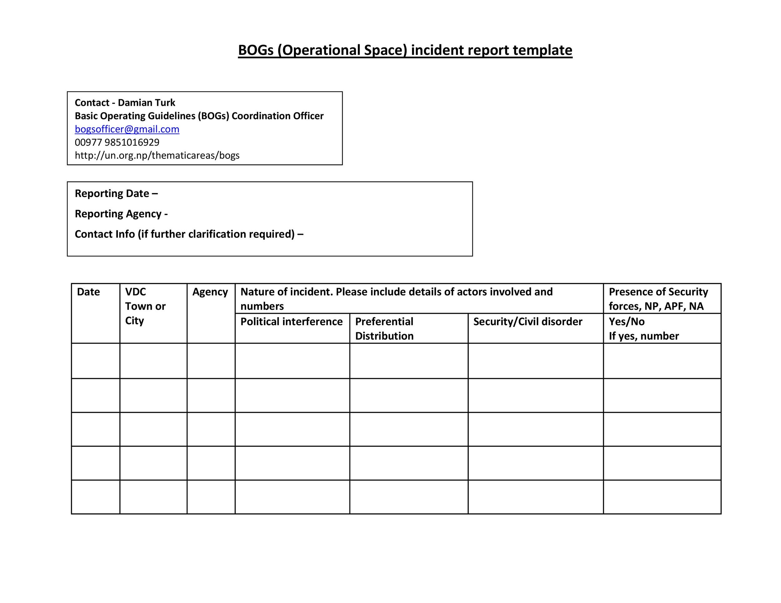 Free Incident Report Template 21