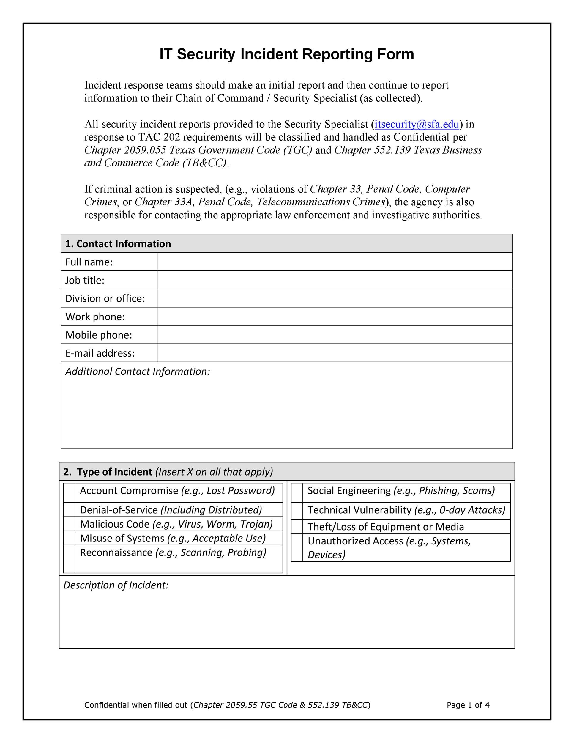 Free Incident Report Template 22