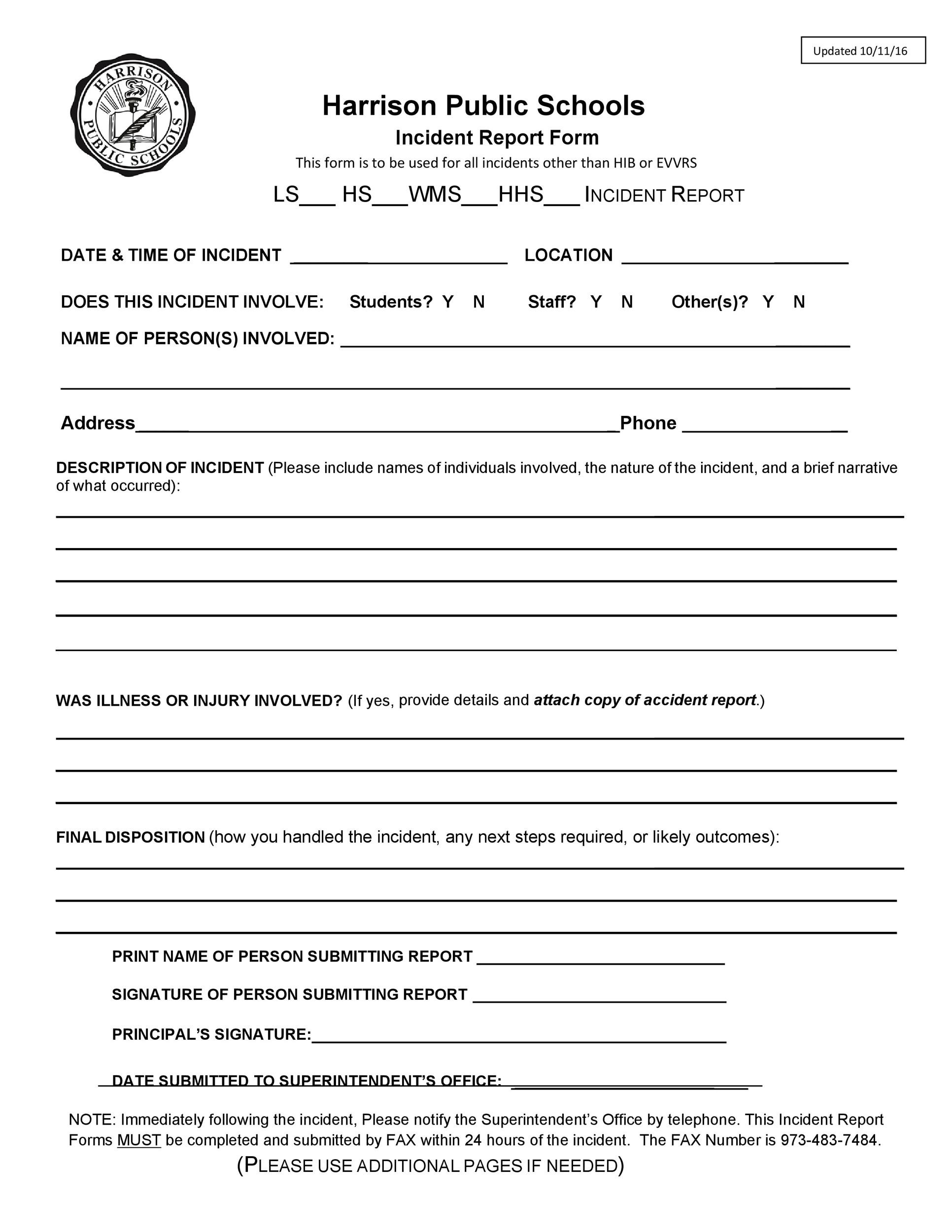 Free Incident Report Template 24