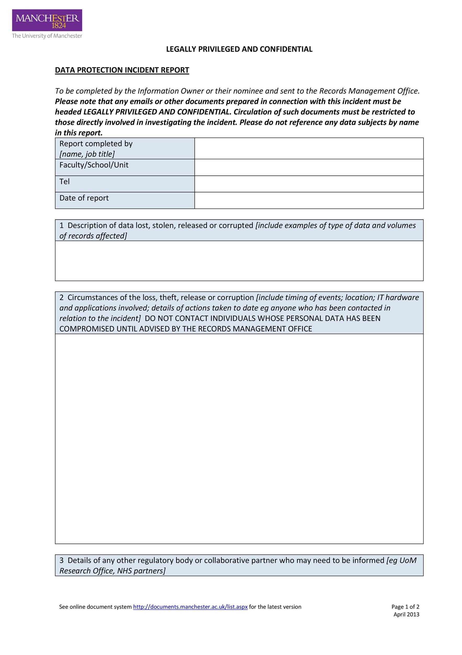 Incident Report Template Employee Police Generic