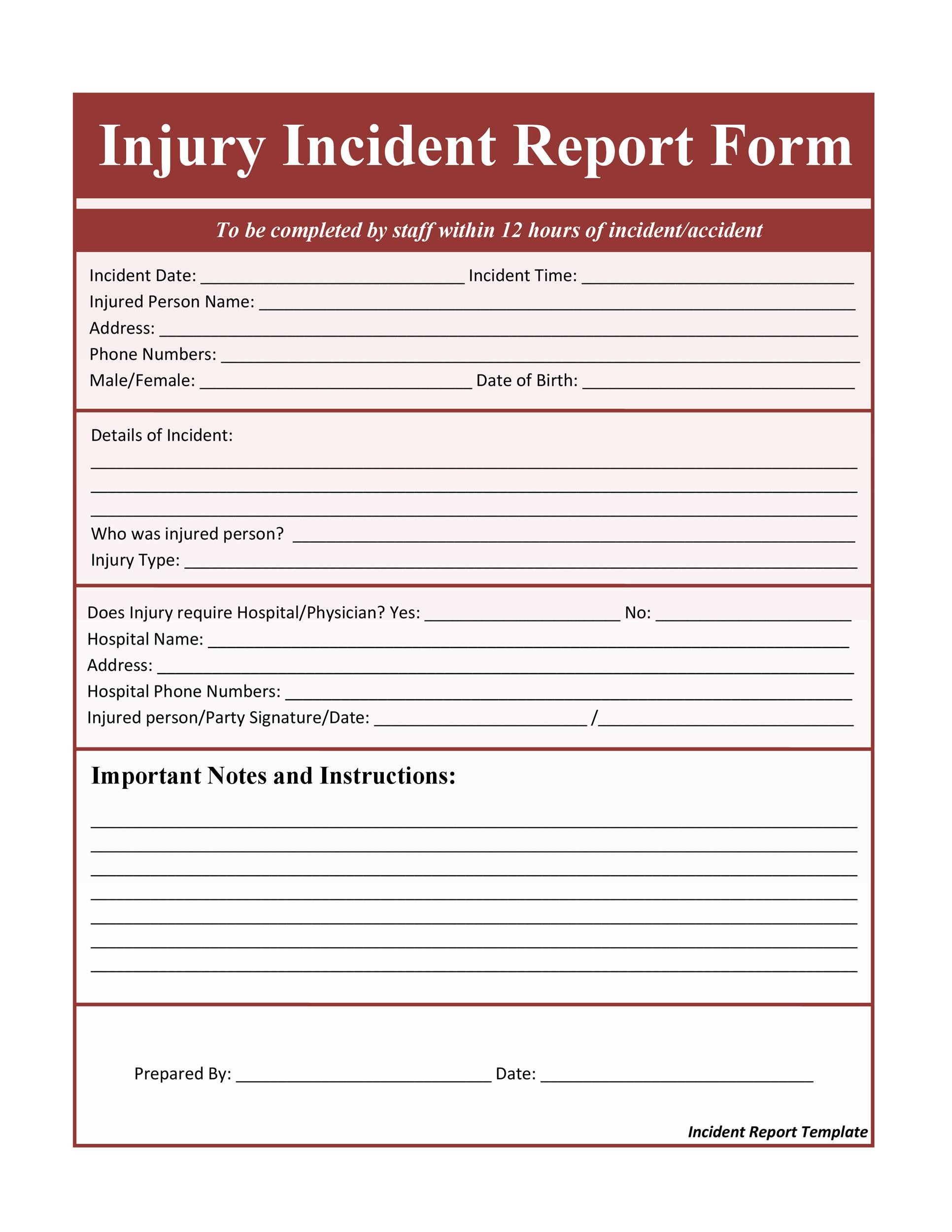 Printable Incident Report Template 28  Injury Incident Report Template