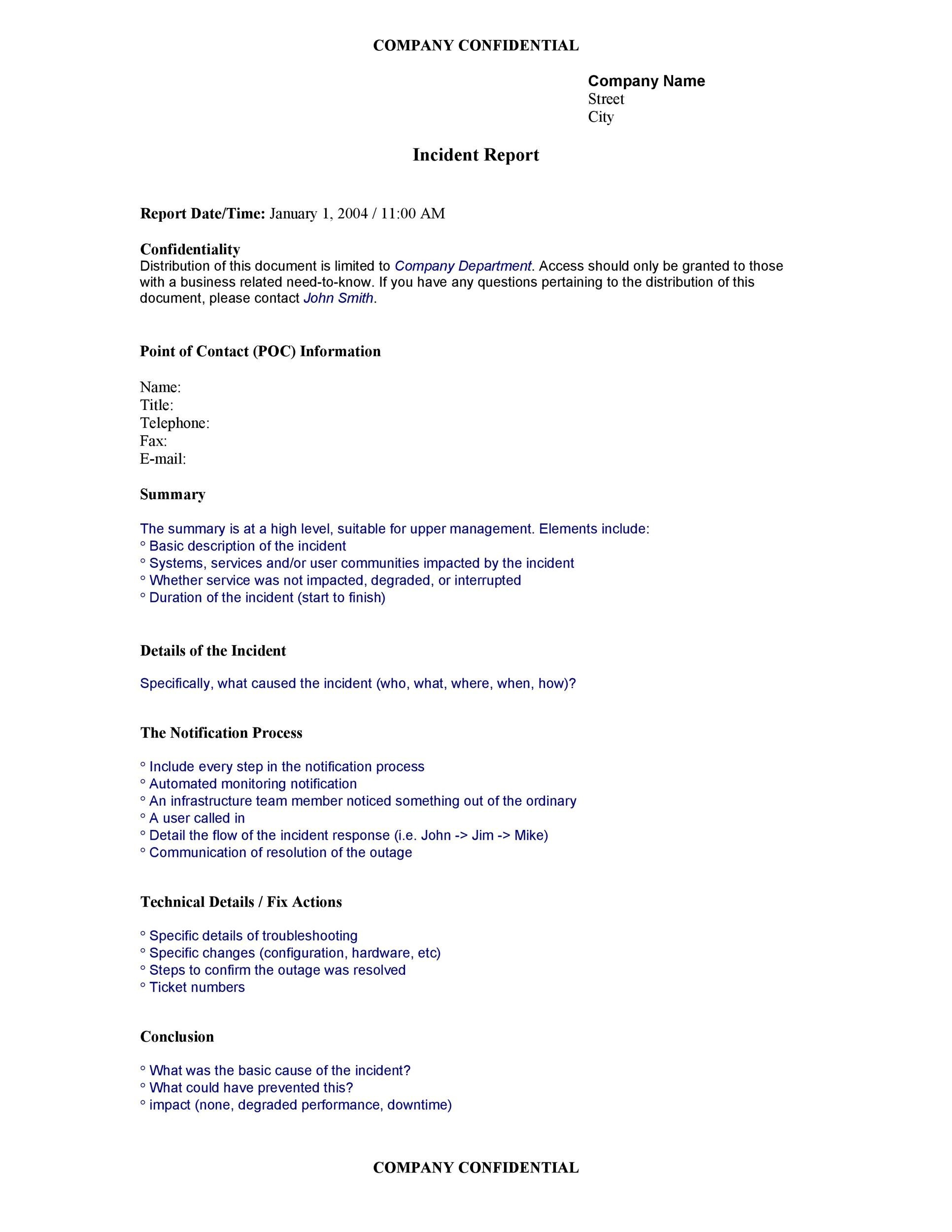 Free Incident Report Template 29