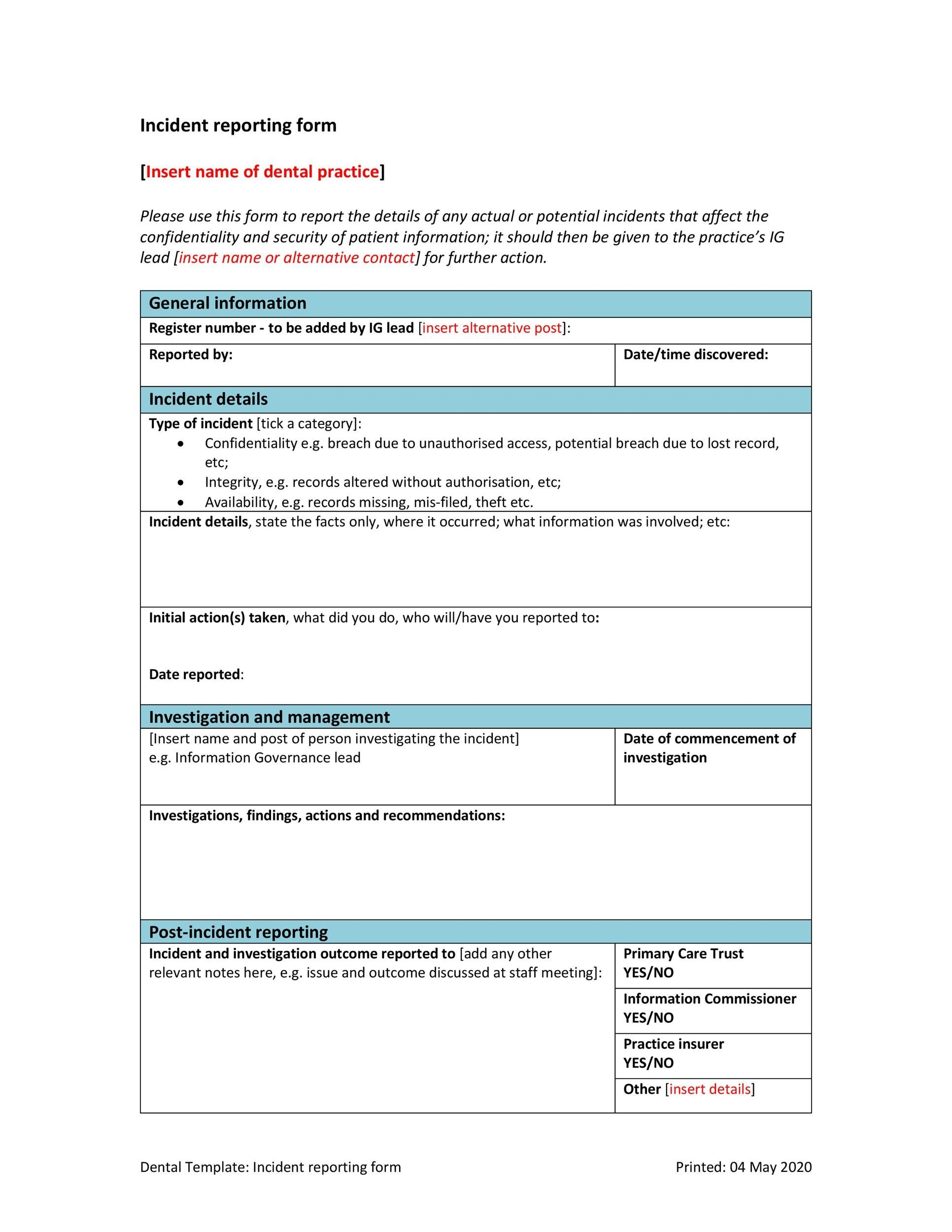 Free Incident Report Template 31