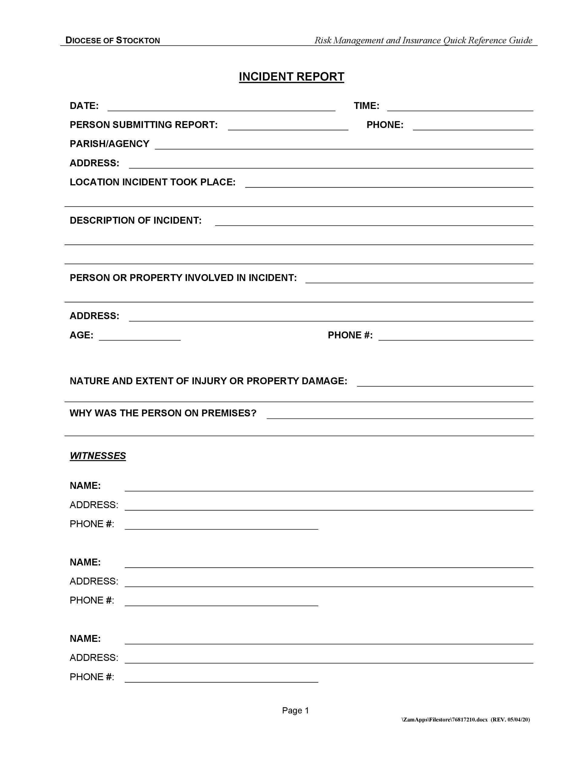 Free Incident Report Template 32
