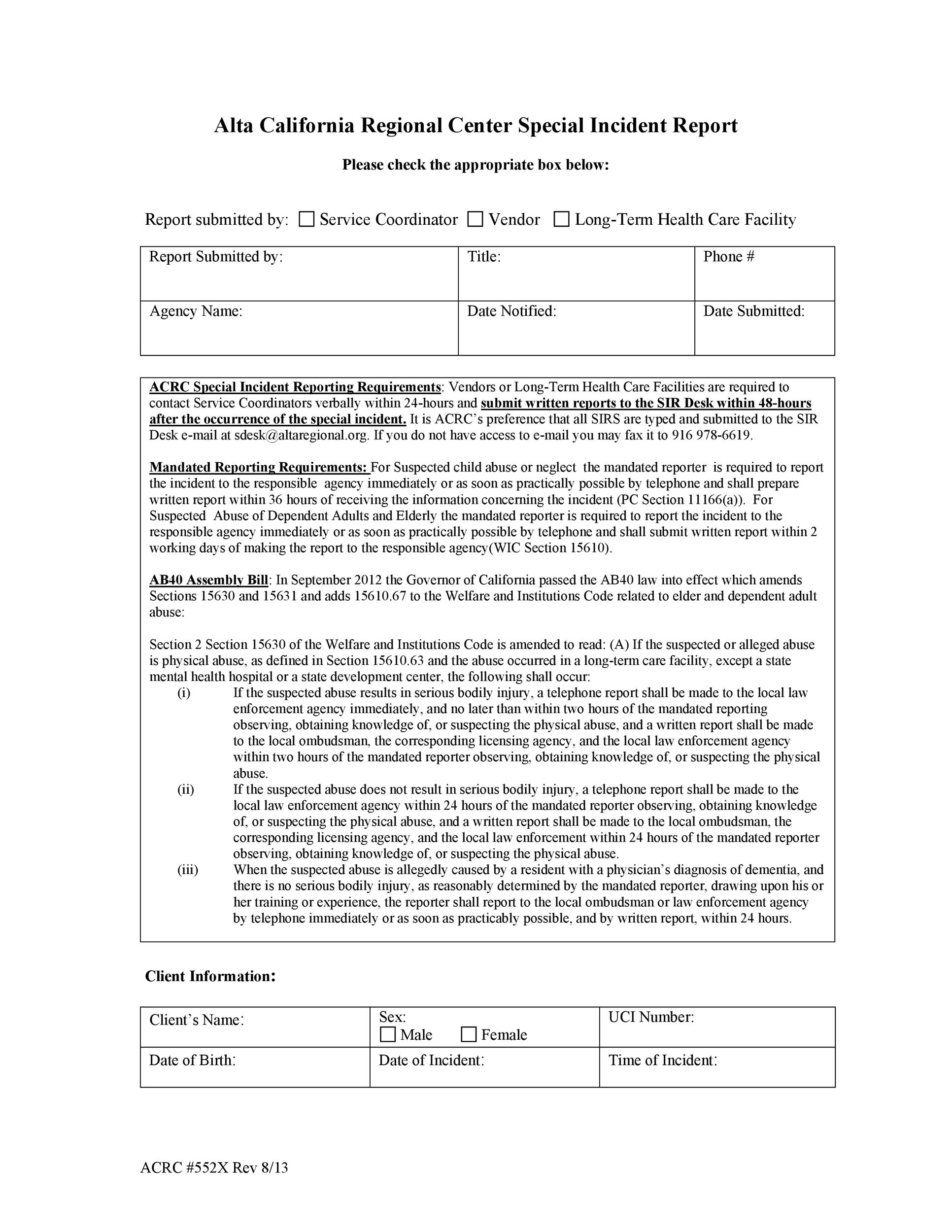 Free Incident Report Template 39