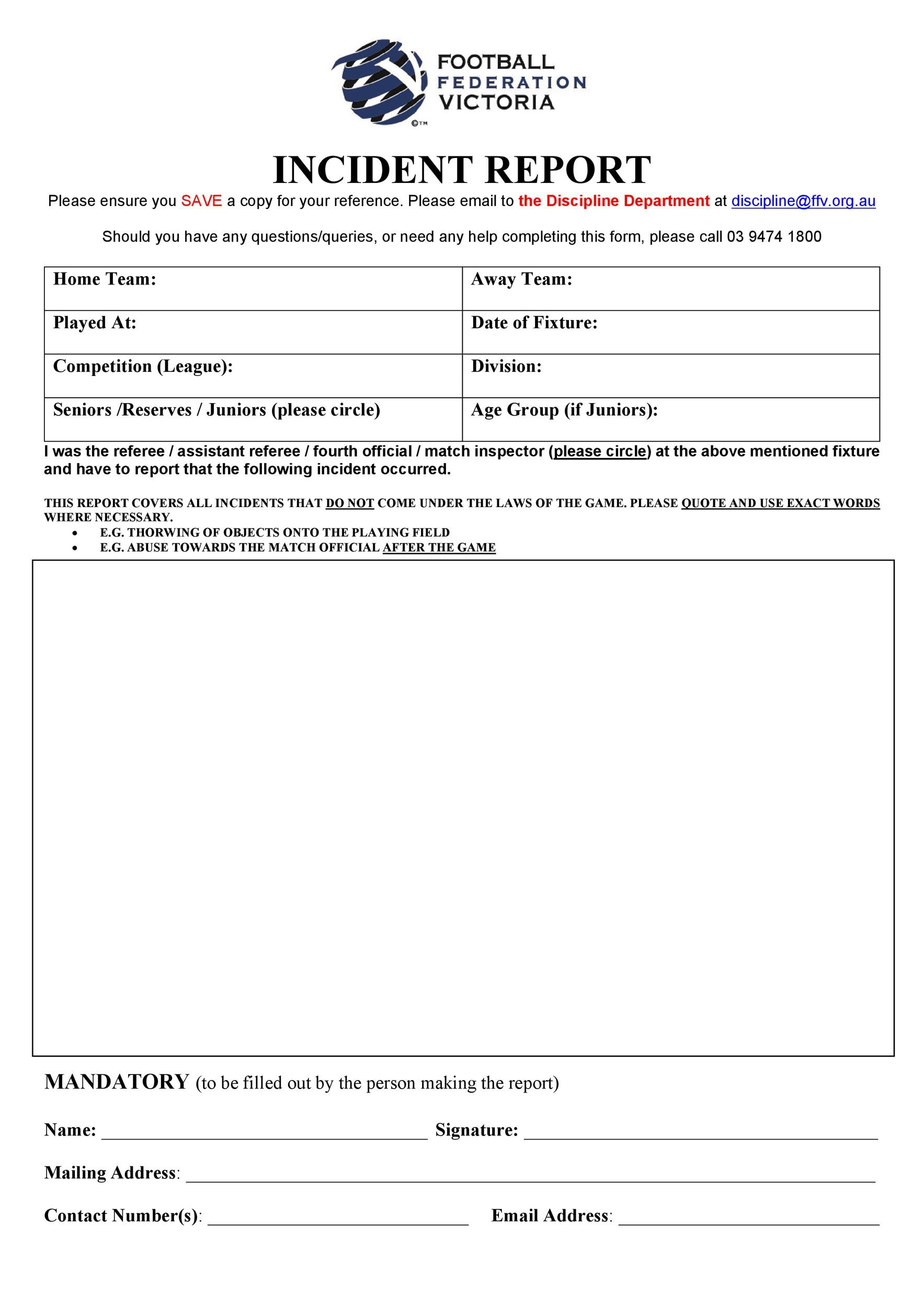 Free Incident Report Template 41  Free Incident Report Template