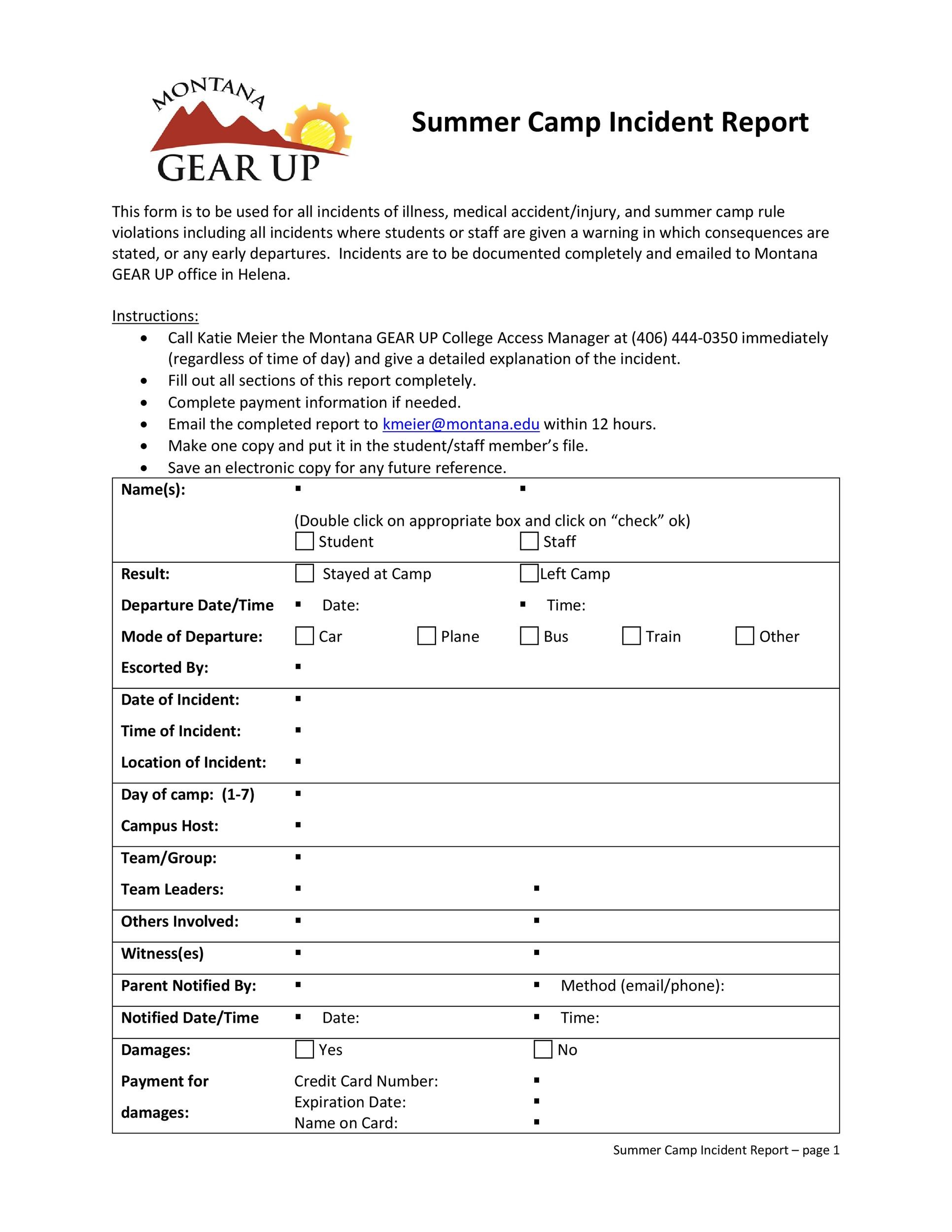 Free Incident Report Template 42  Free Incident Report Template