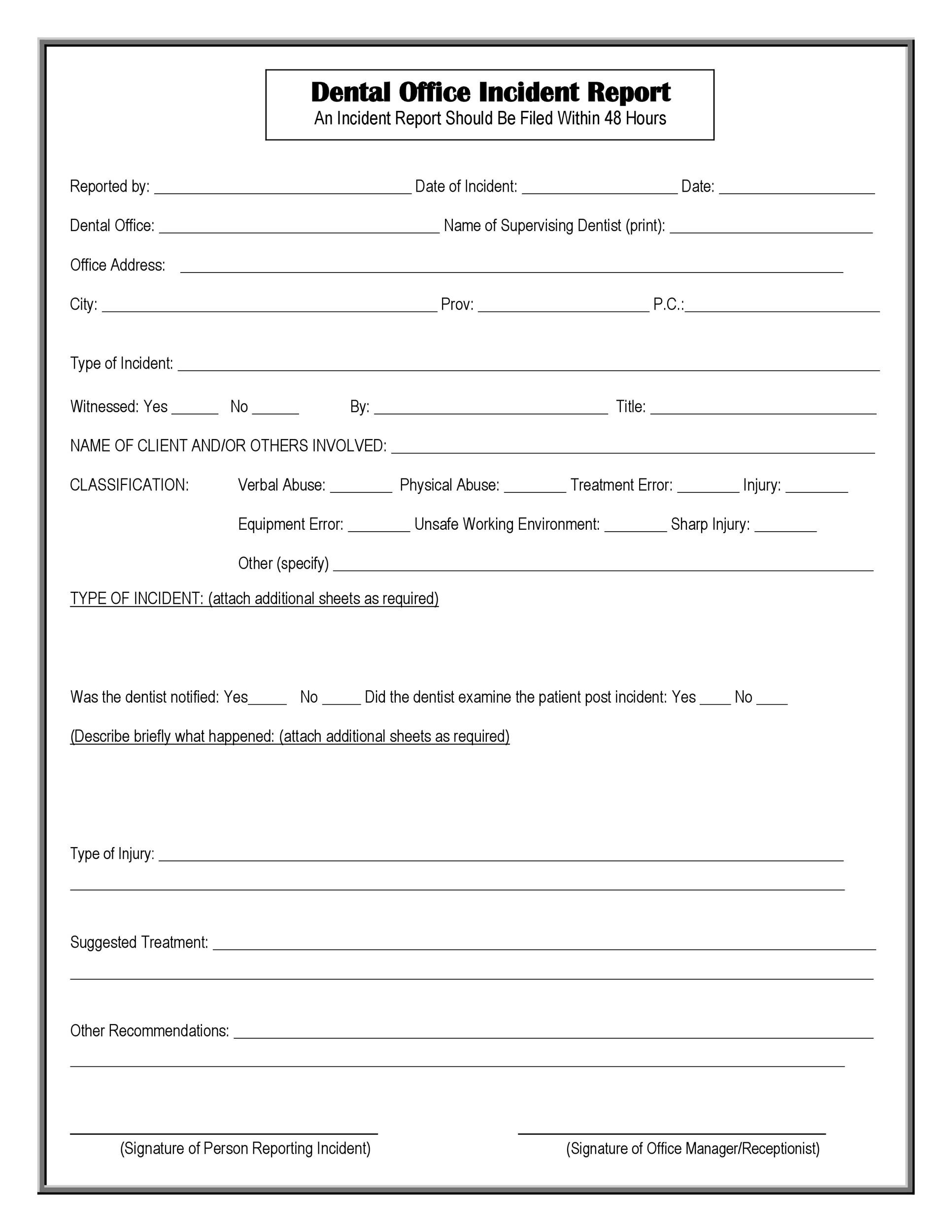 Free Incident Report Template 47