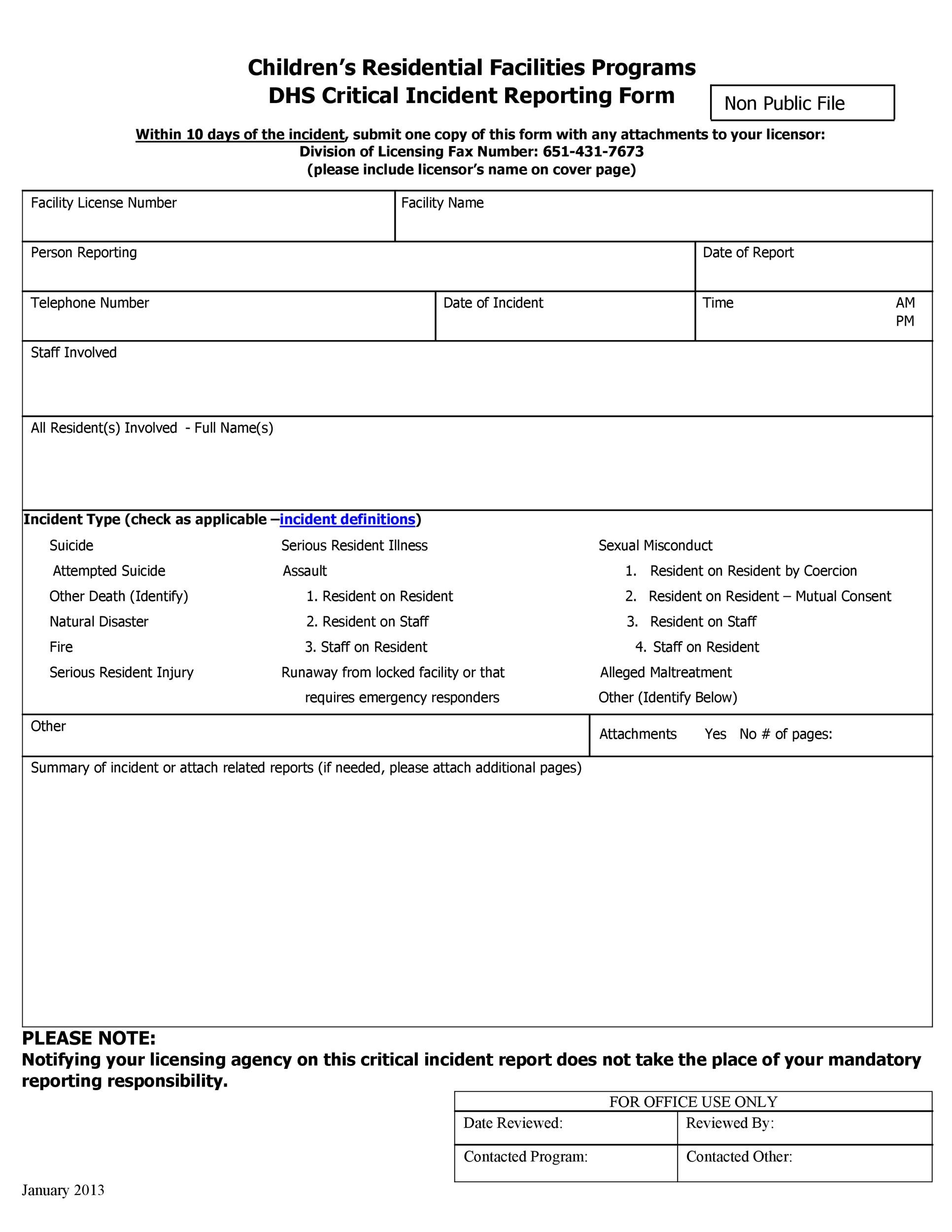 Free Incident Report Template 48