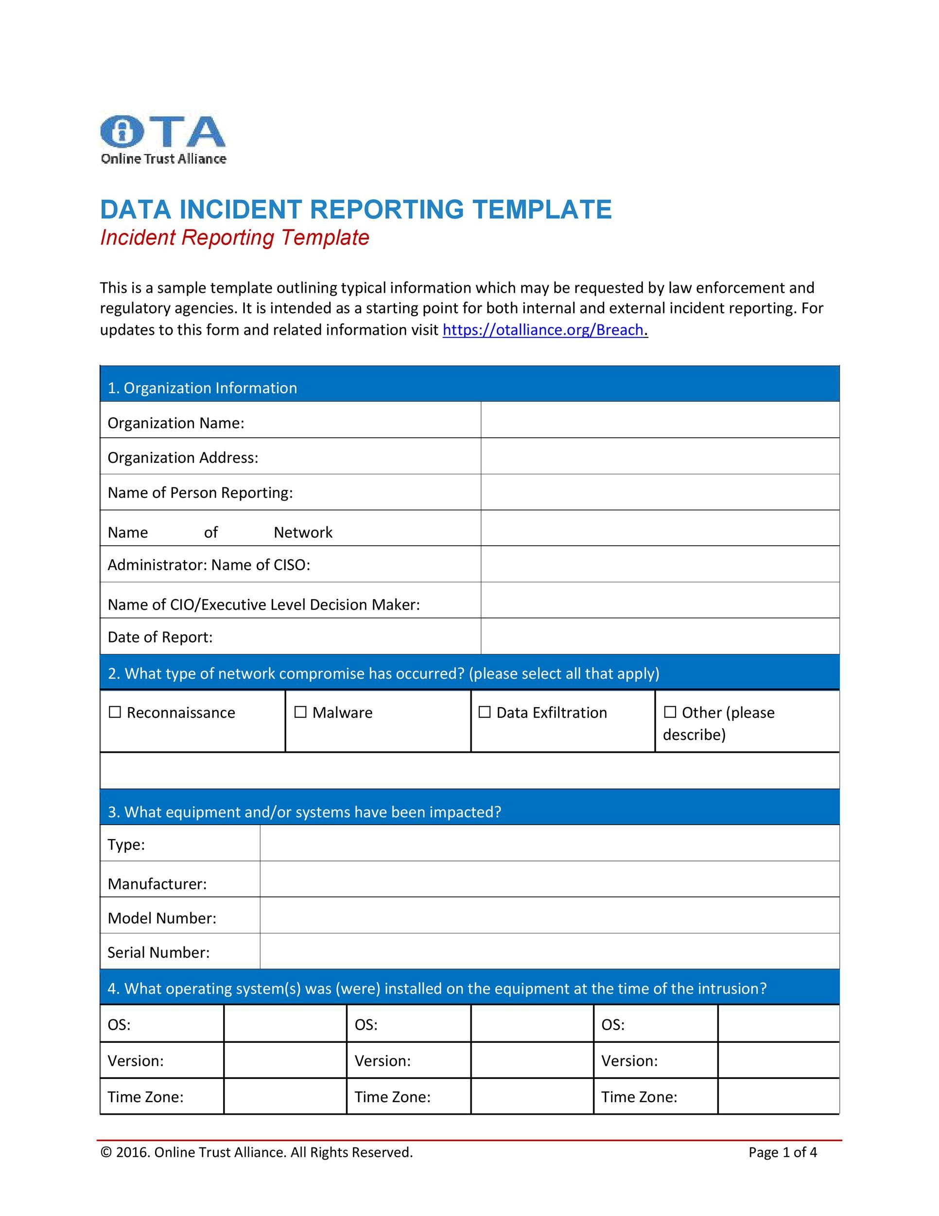 Free Incident Report Template 49