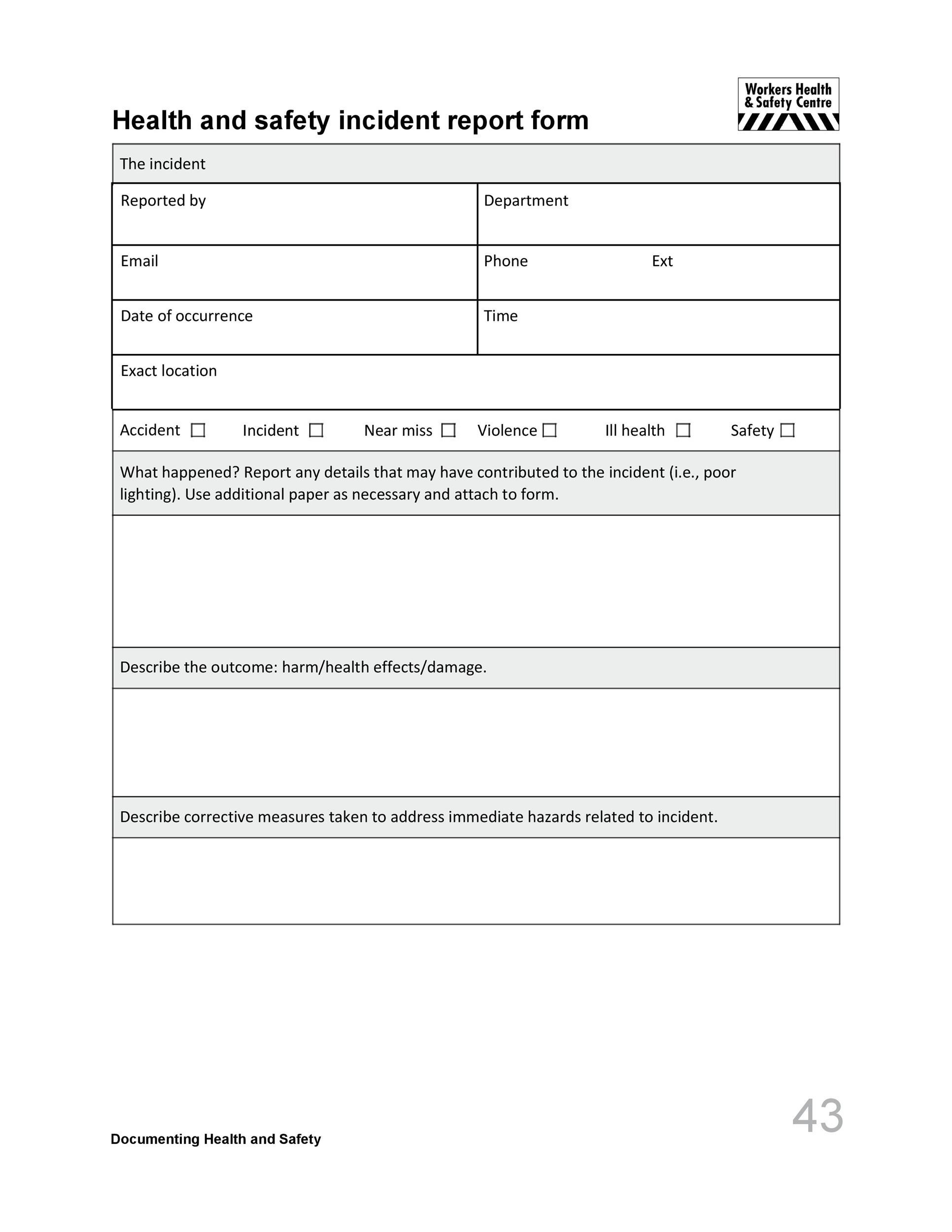 Free Incident Report Template 50