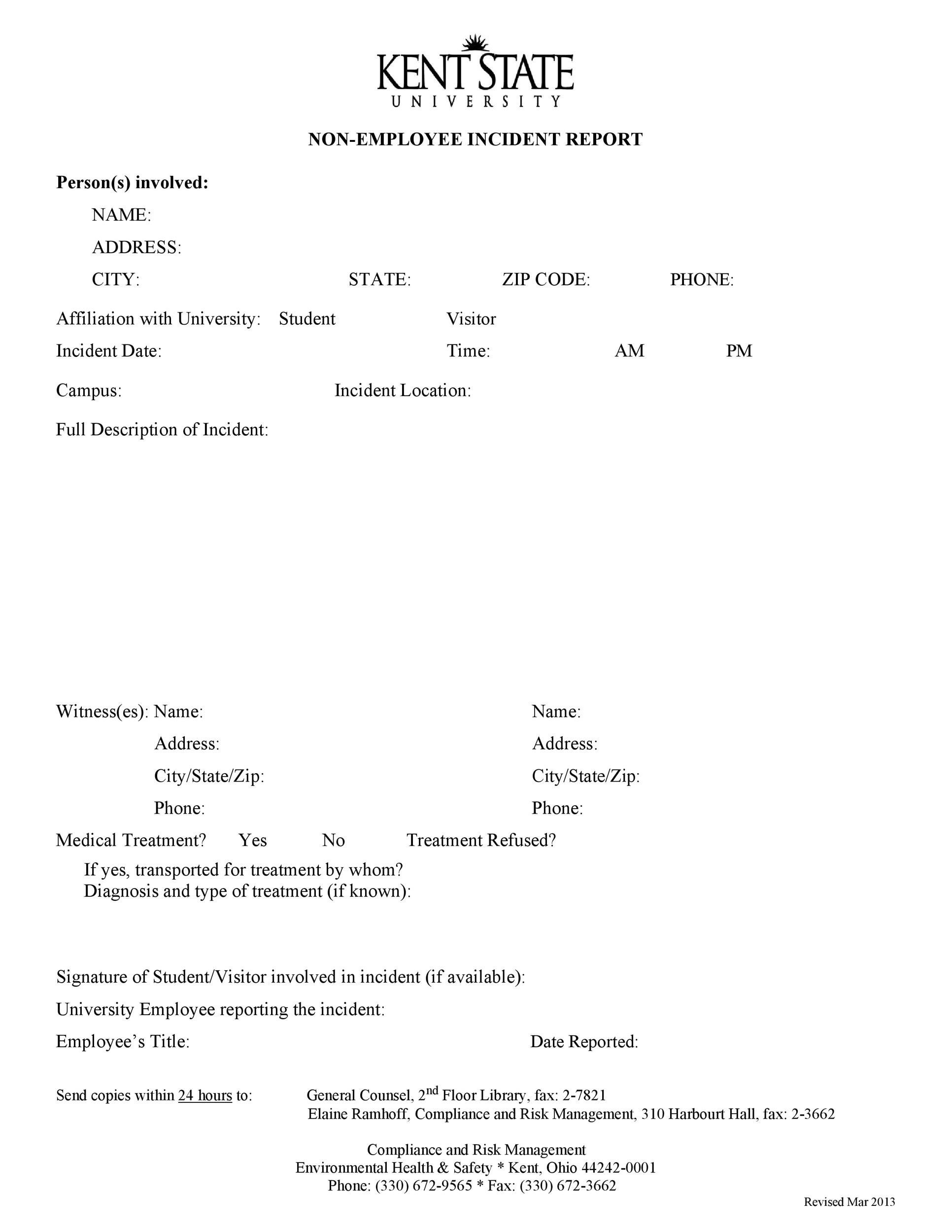 Free Incident Report Template 56  Free Incident Report Template