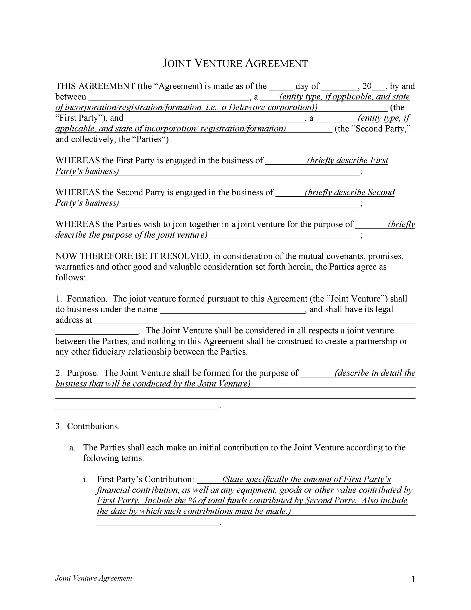 Printable Joint Venture Agreement Template 01  Joint Venture Agreements Sample