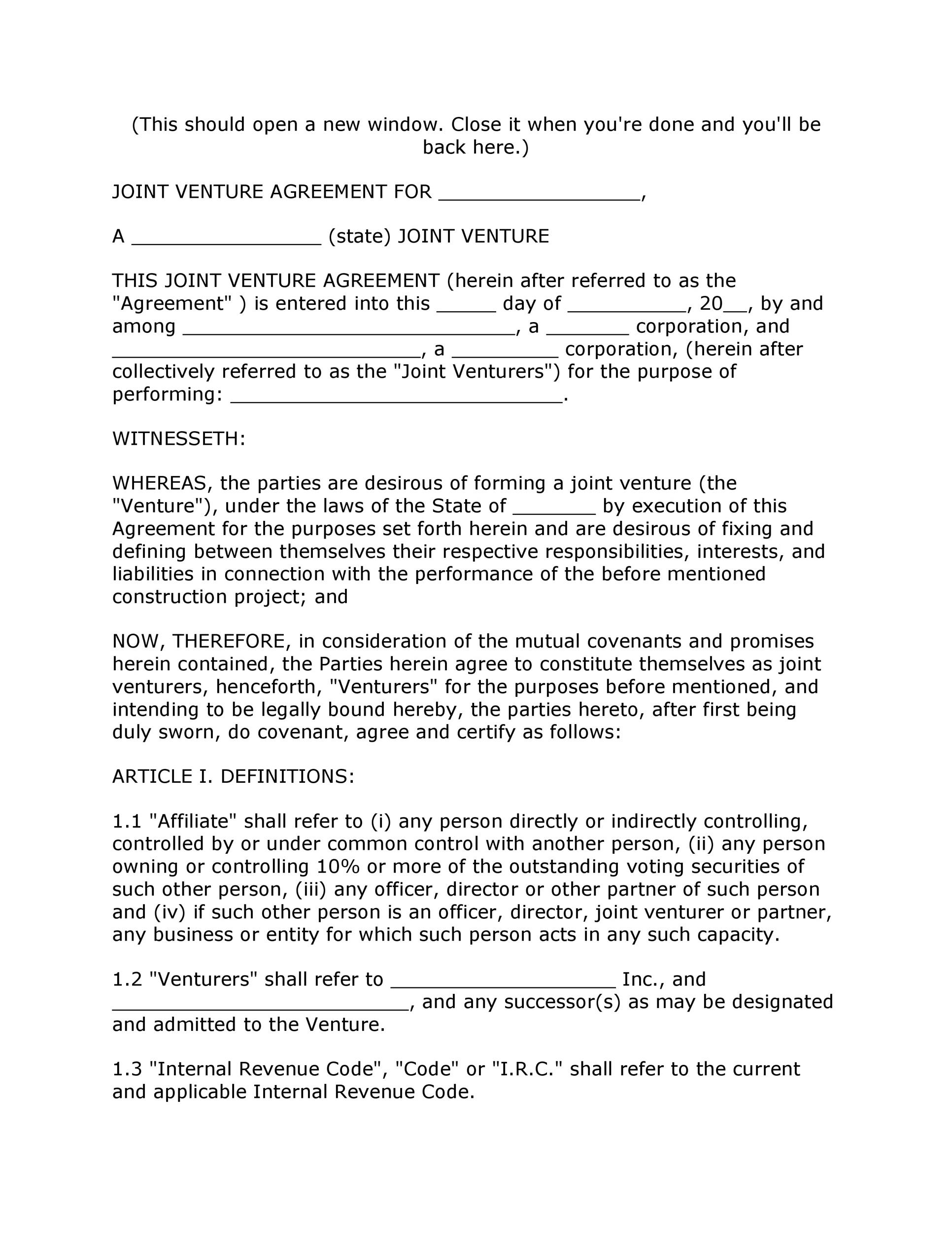Printable Joint Venture Agreement Template 04  Joint Venture Agreement Doc