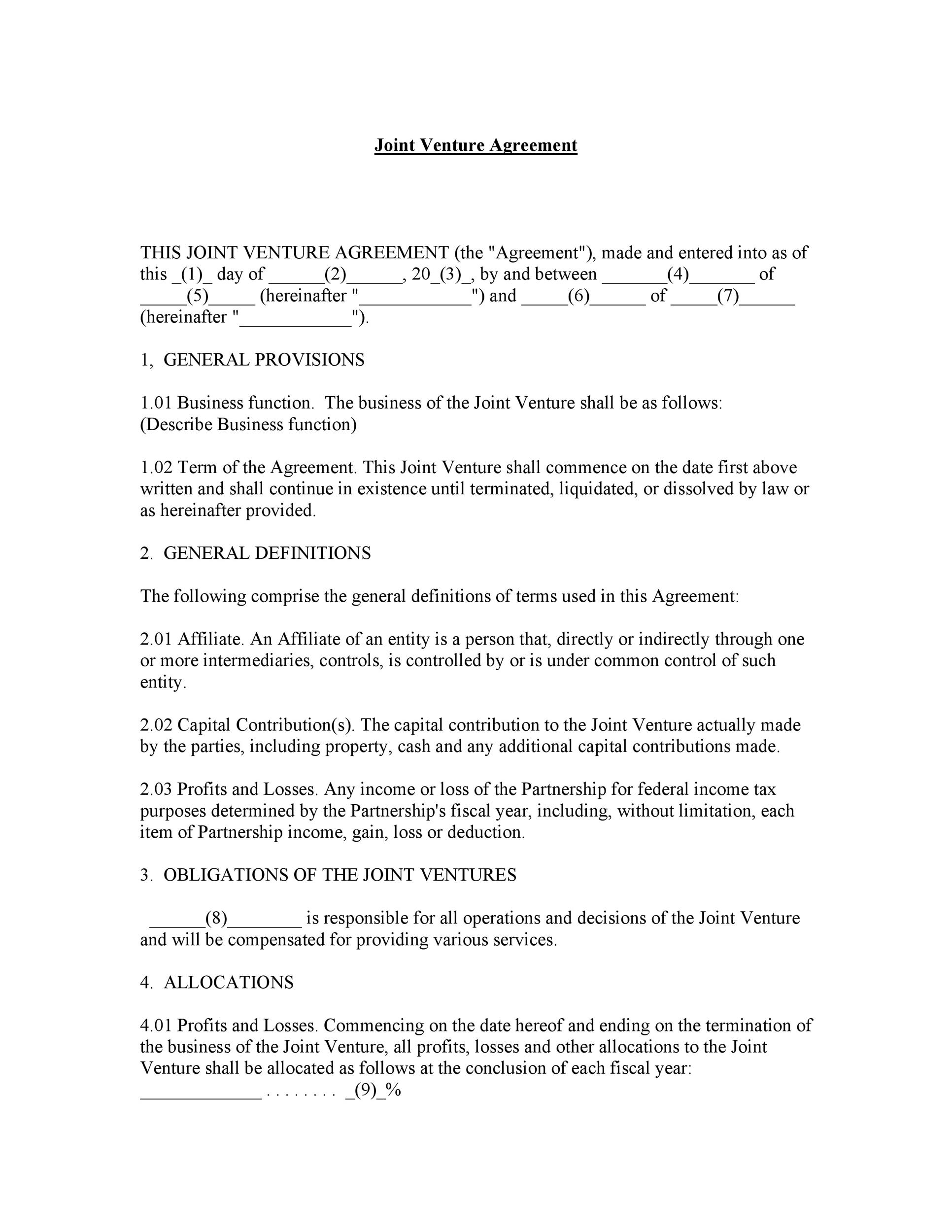 Free Joint Venture Agreement Template 06