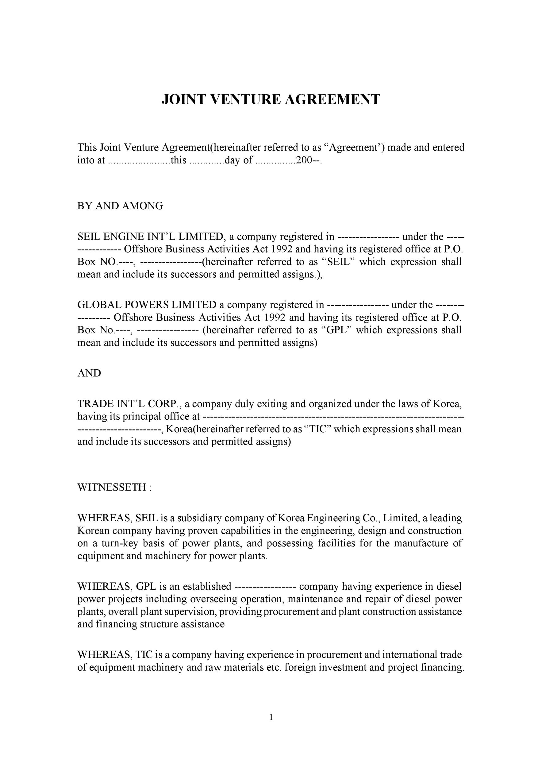 Lovely Printable Joint Venture Agreement Template 07  Joint Venture Agreements Sample