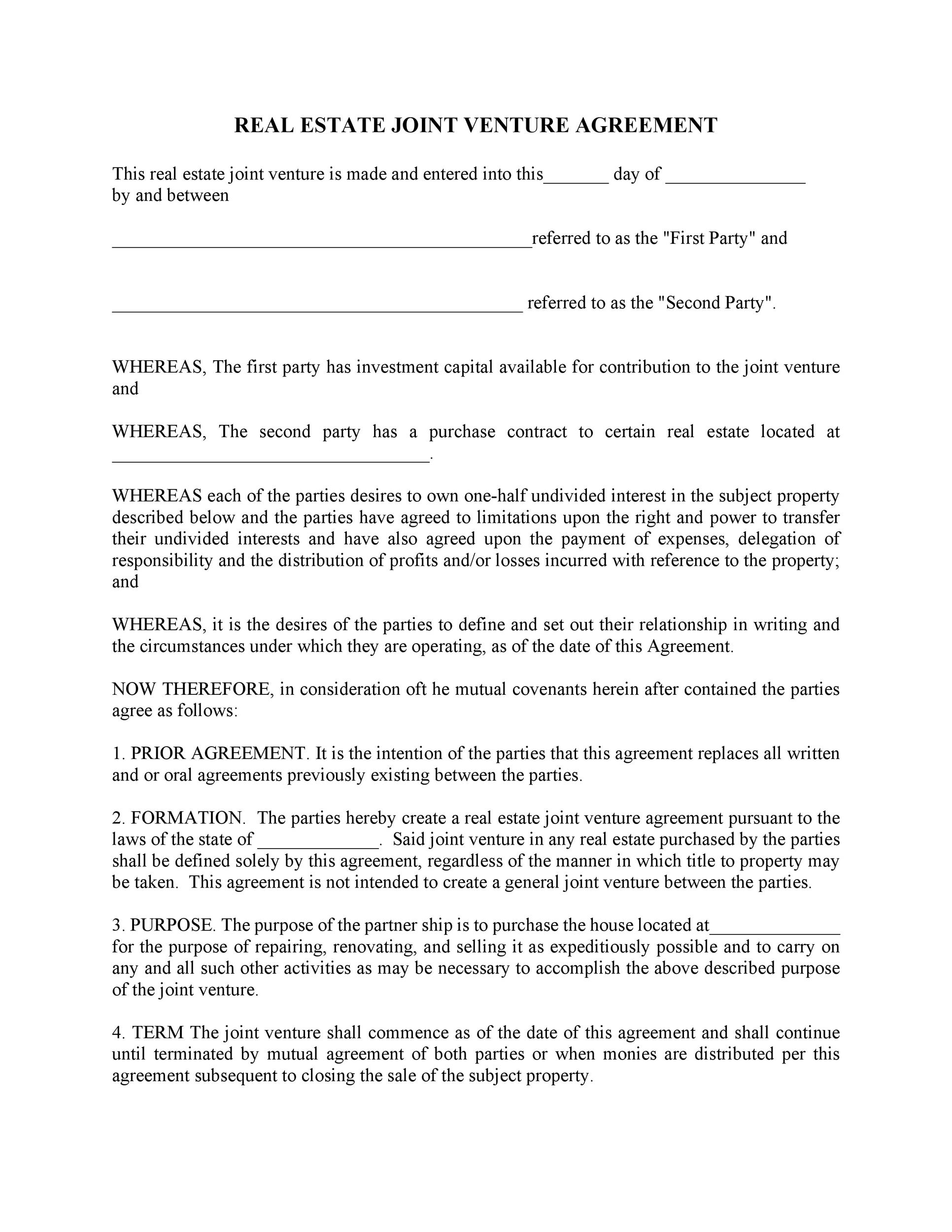 Printable Joint Venture Agreement Template 09  Joint Venture Agreement Doc